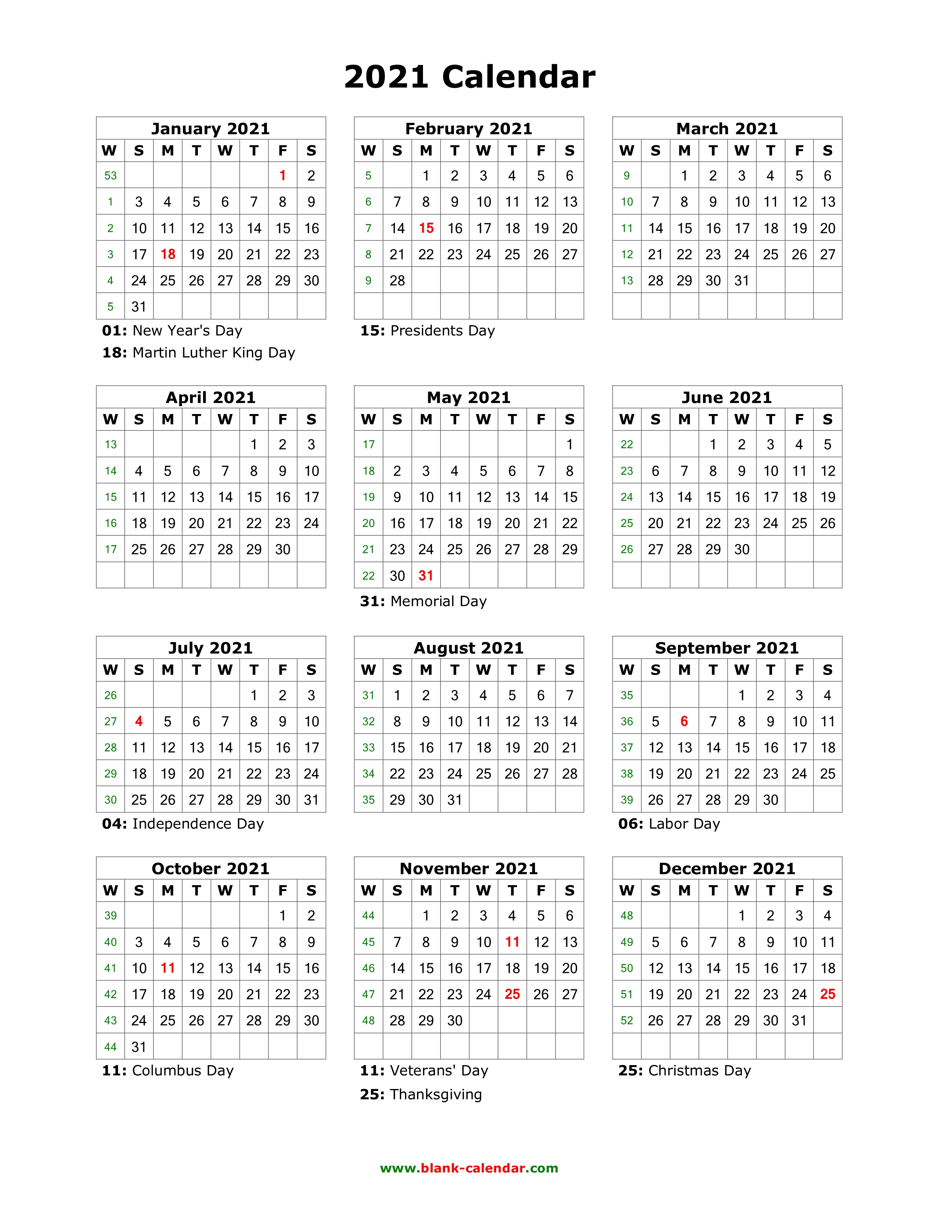 Download Blank Calendar 2021 with US Holidays (12 months on one