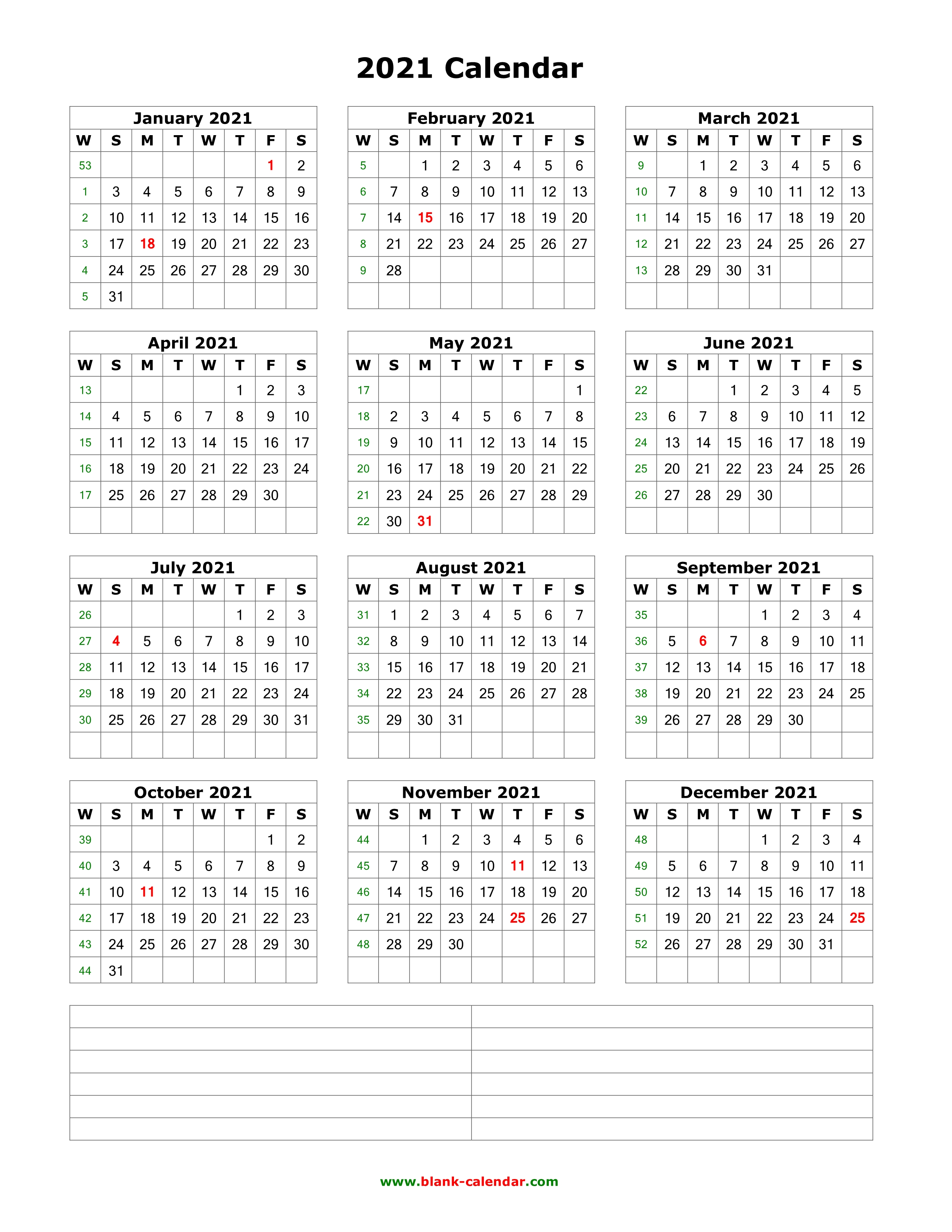 2021 1 Page Calendar Download Blank Calendar 2021 with Space for Notes (12 months on