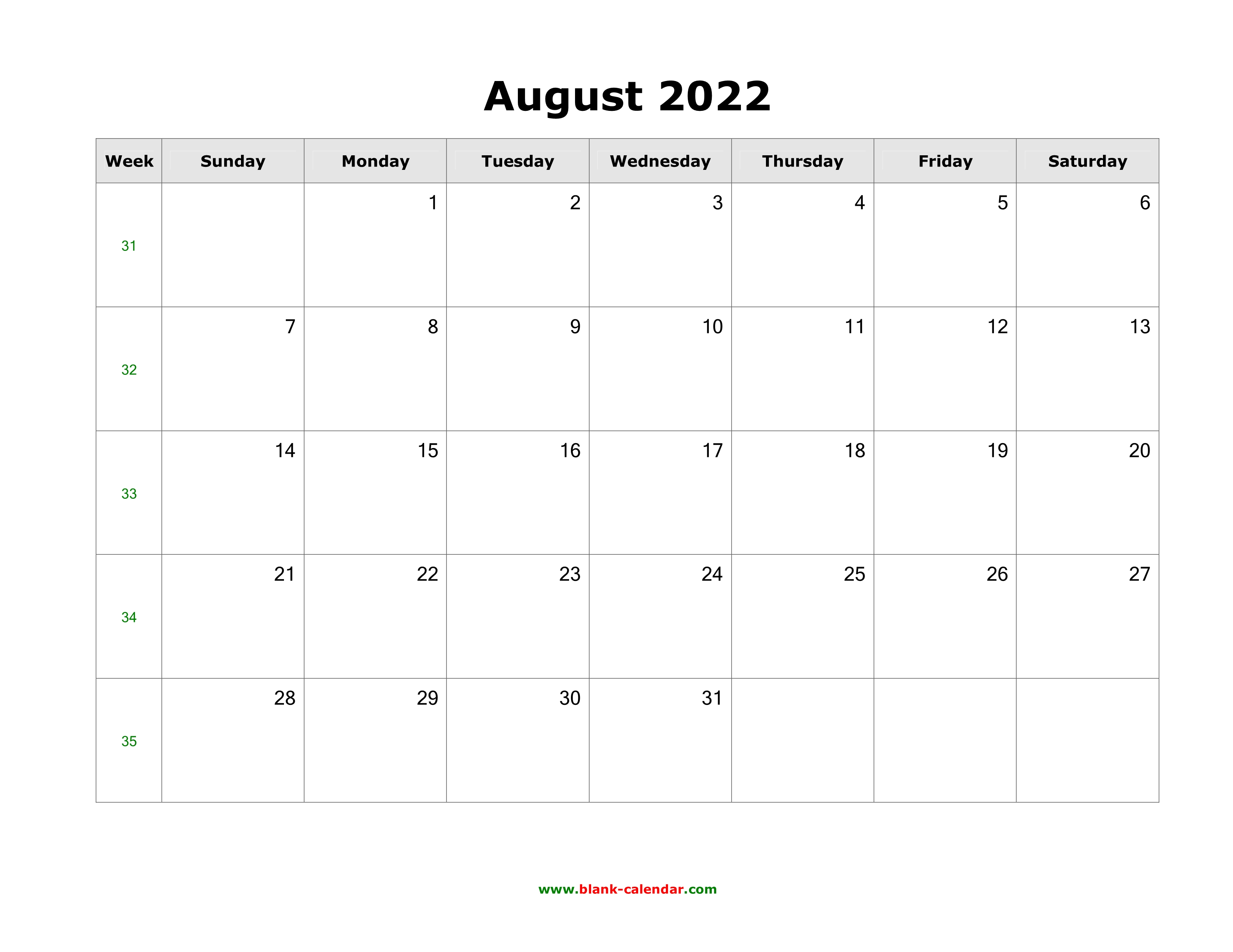 Blank Calendar 2022 August.Download August 2022 Blank Calendar Horizontal