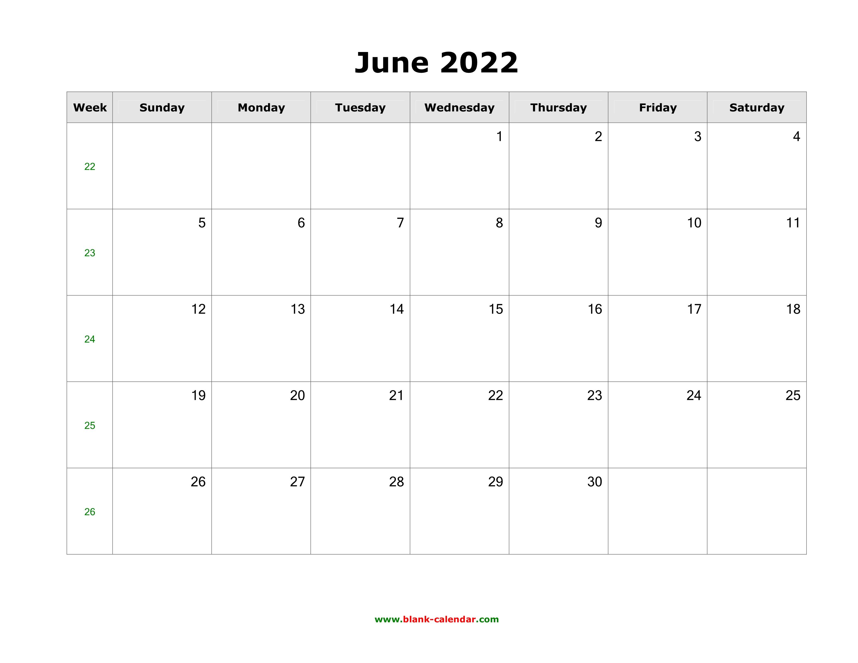 June 2022 Blank Calendar.Download June 2022 Blank Calendar With Us Holidays Horizontal
