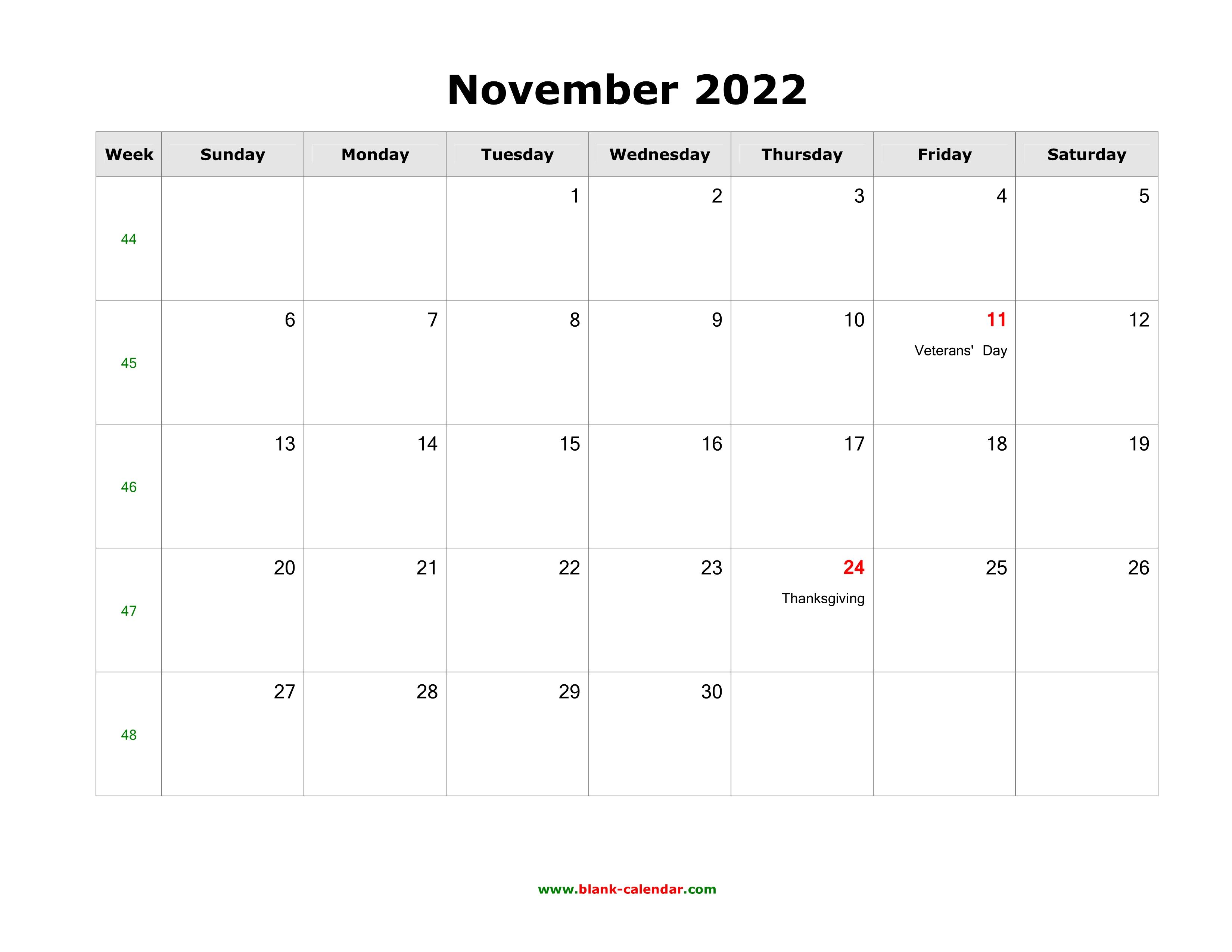 Printable November 2022 Calendar.November 2022 Blank Calendar Free Download Calendar Templates