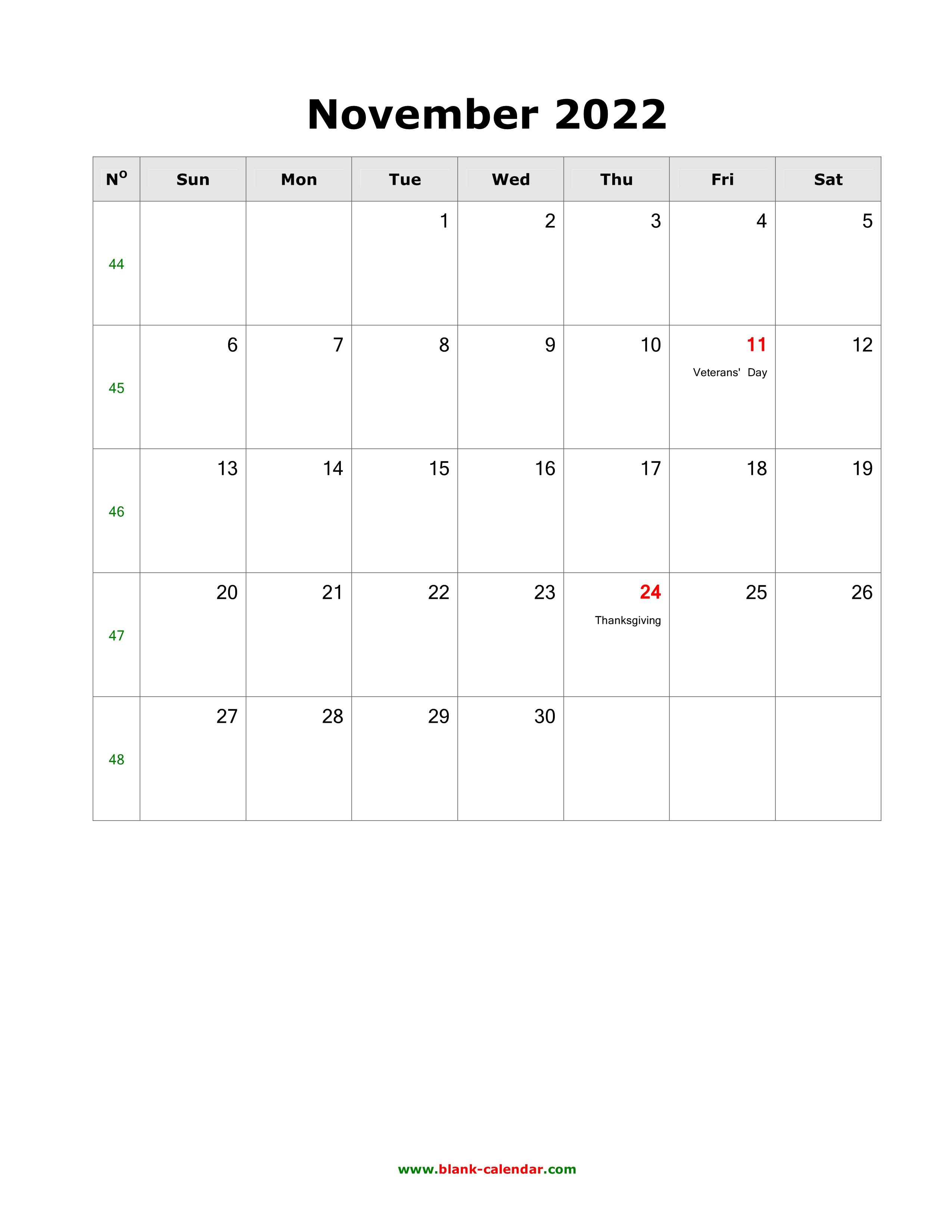 November 2022 Blank Calendar.Download November 2022 Blank Calendar With Us Holidays Vertical