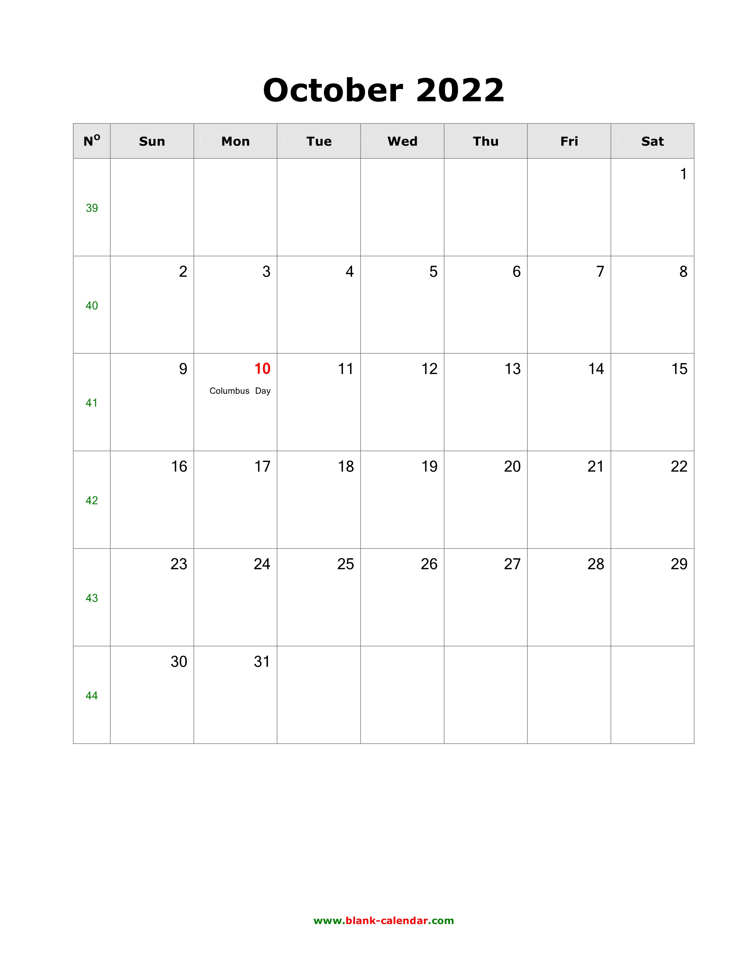 Oct 2022 Calendar With Holidays.Download October 2022 Blank Calendar With Us Holidays Vertical