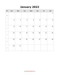 Blank Calendar 2022 (12 pages, vertical)
