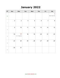 blank monthly holidays calendar 2022 portrait