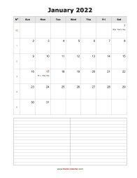 blank monthly calendar 2022 with notes portrait