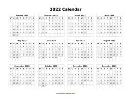 Blank Calendar 2022 (one page, horizontal)