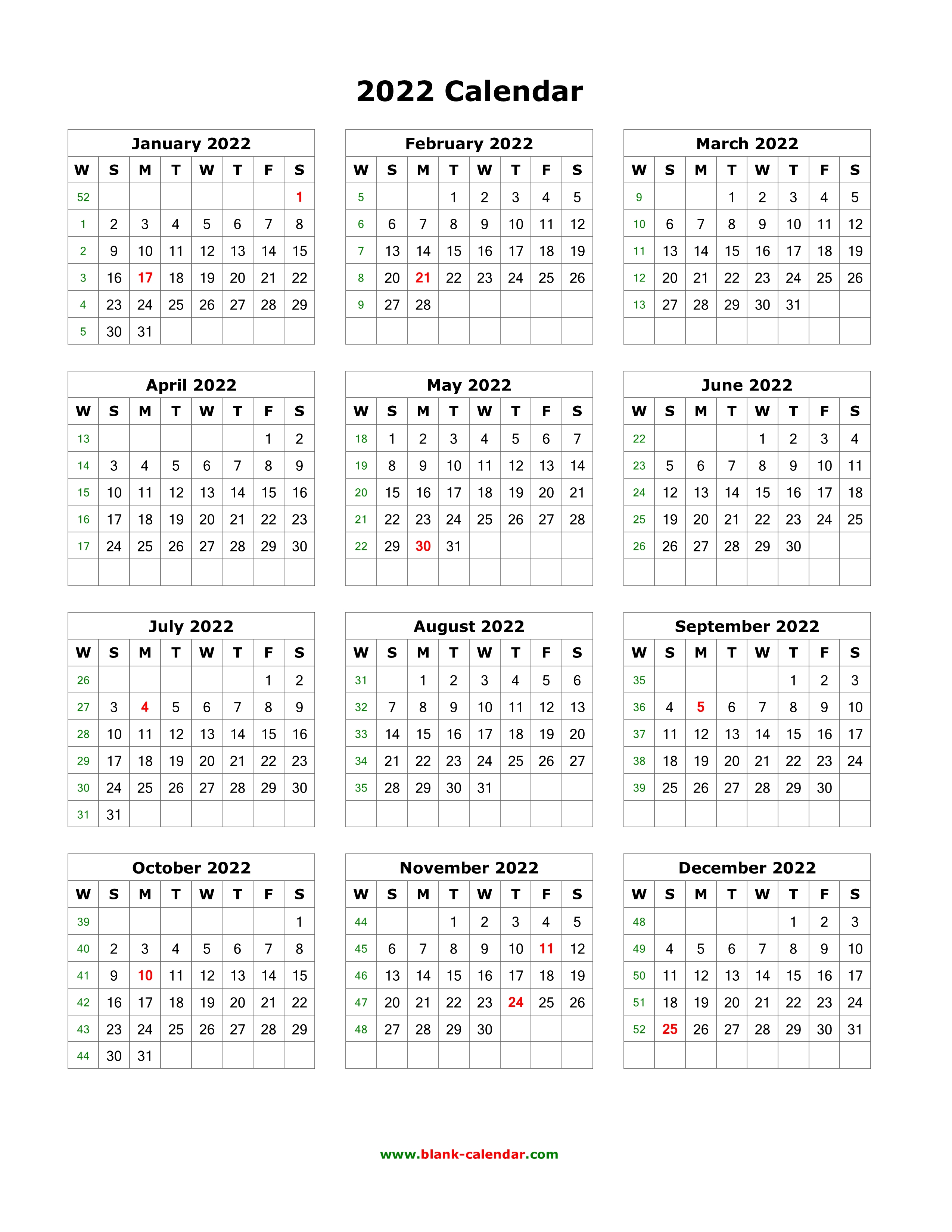 2022 One Page Calendar.Download Blank Calendar 2022 12 Months On One Page Vertical