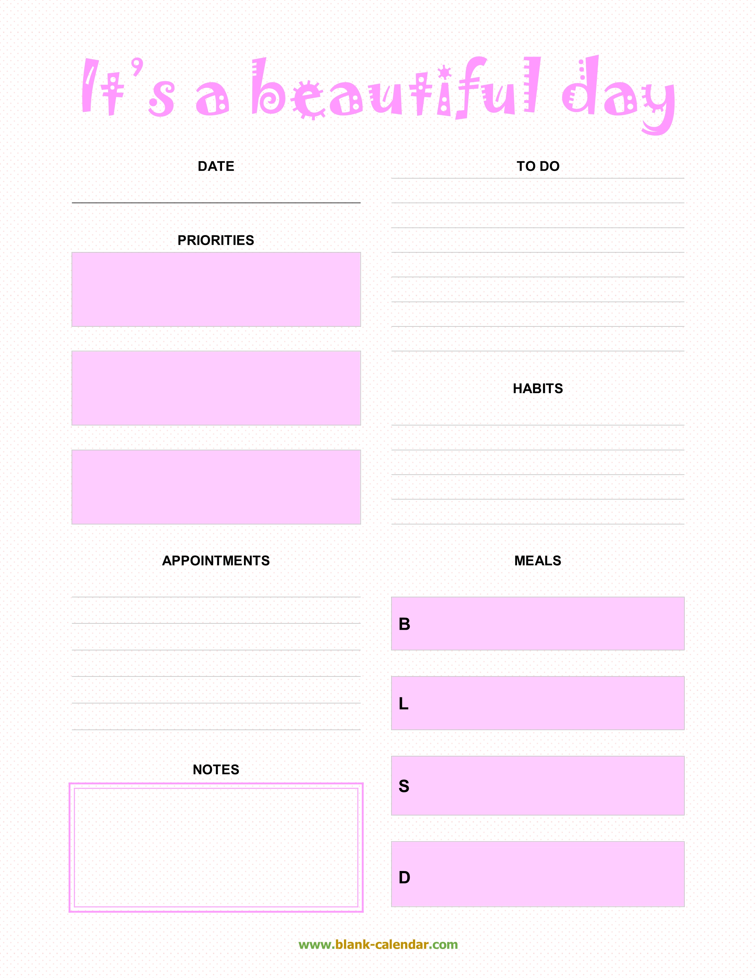 daily planner templates  word  excel  pdf