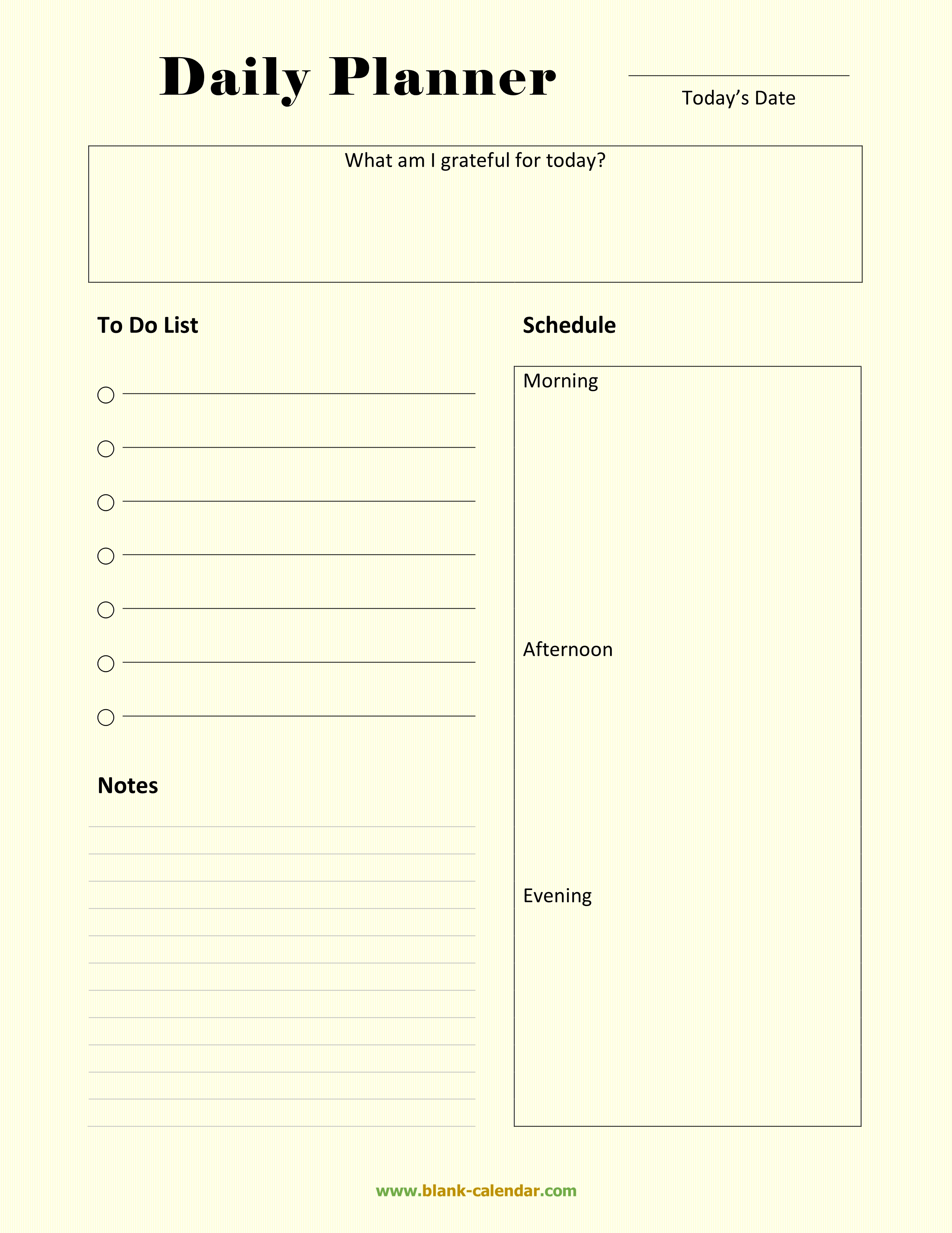 picture regarding Planner Pdf identify Day by day Planner Templates (Term, EXCEL, PDF)
