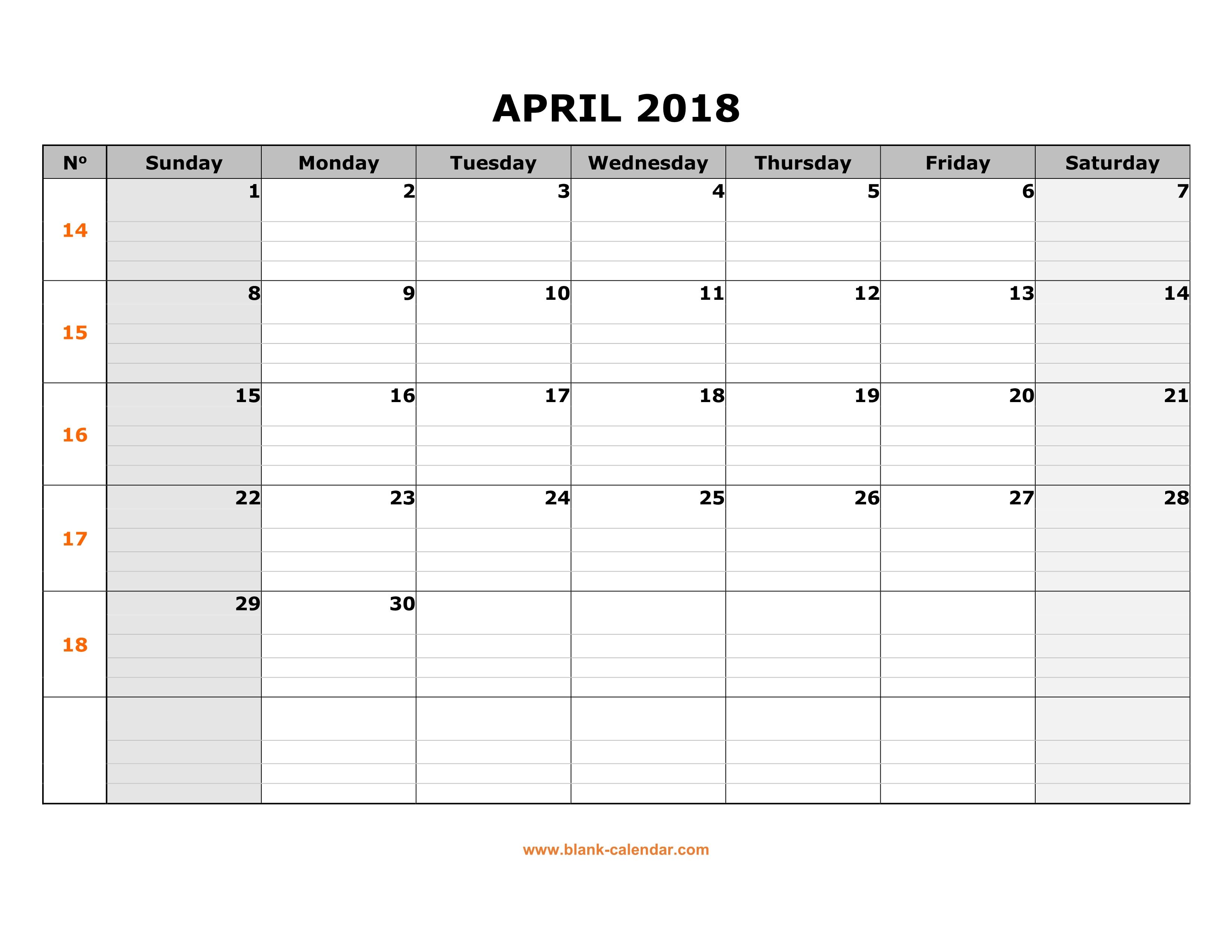 blank calendar template april 2018