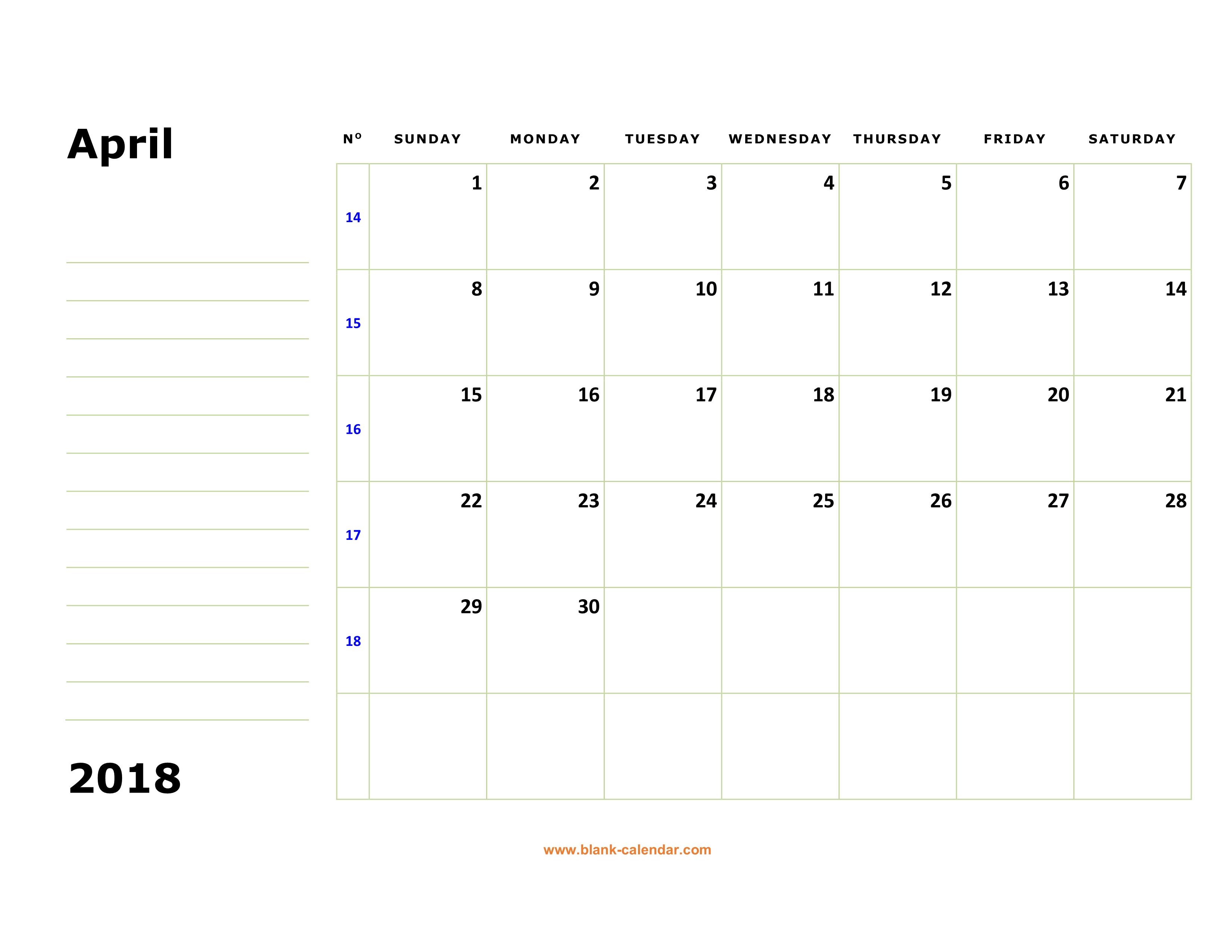 april 2018 calendar printable with holidays