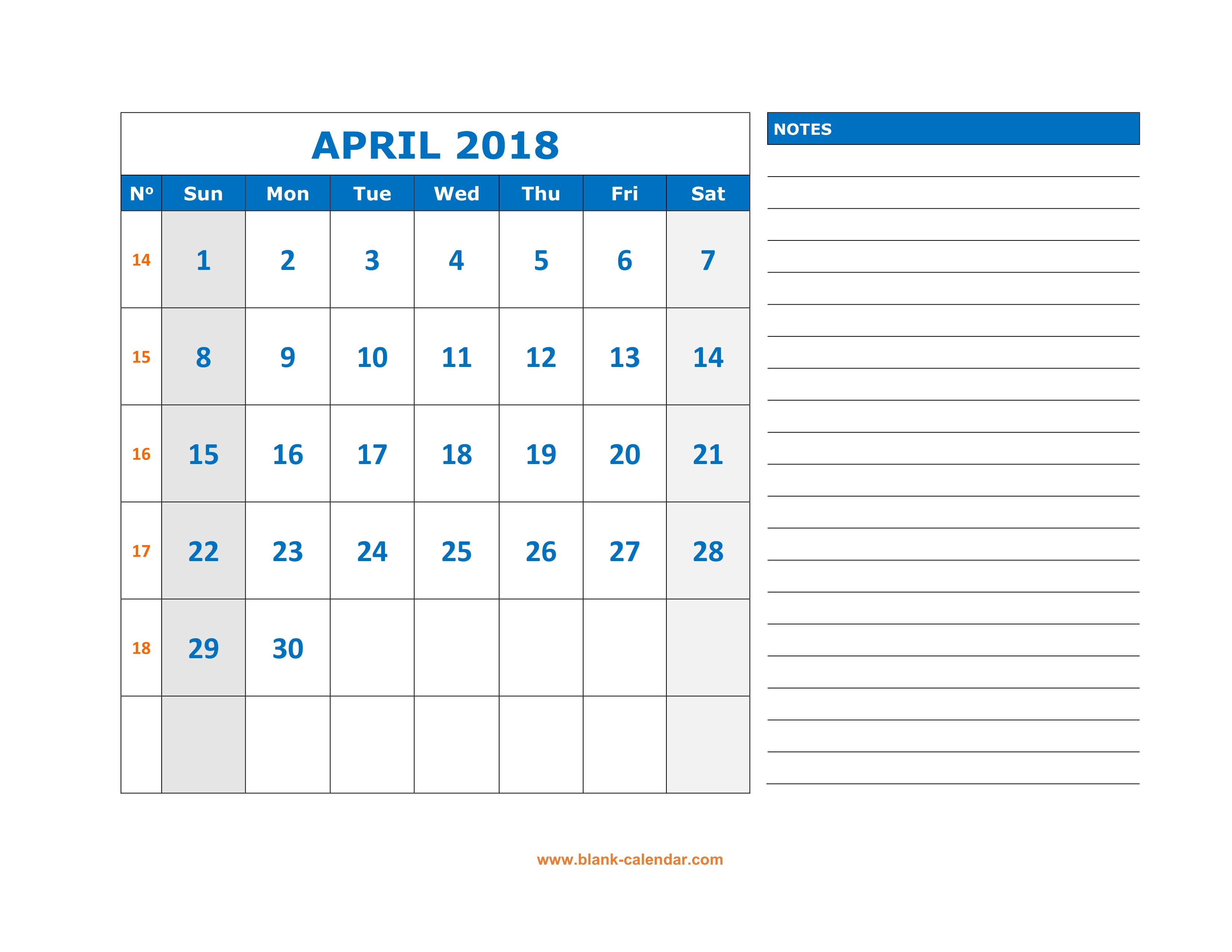 weekly appointment calendar 2018