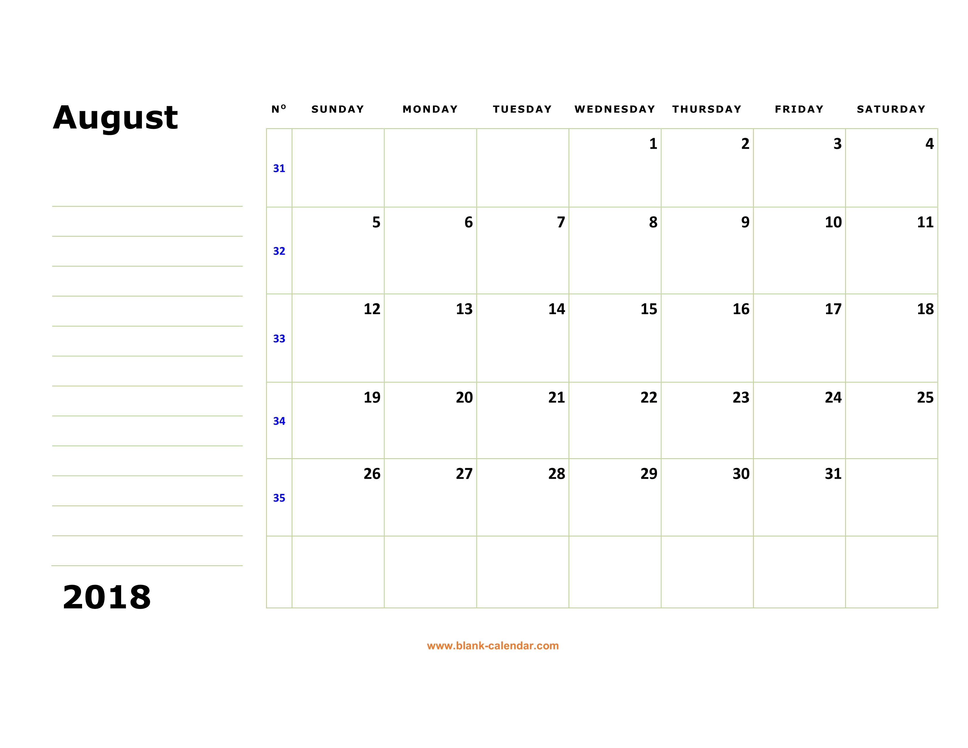 free download printable august 2018 calendar large box holidays listed space for notes
