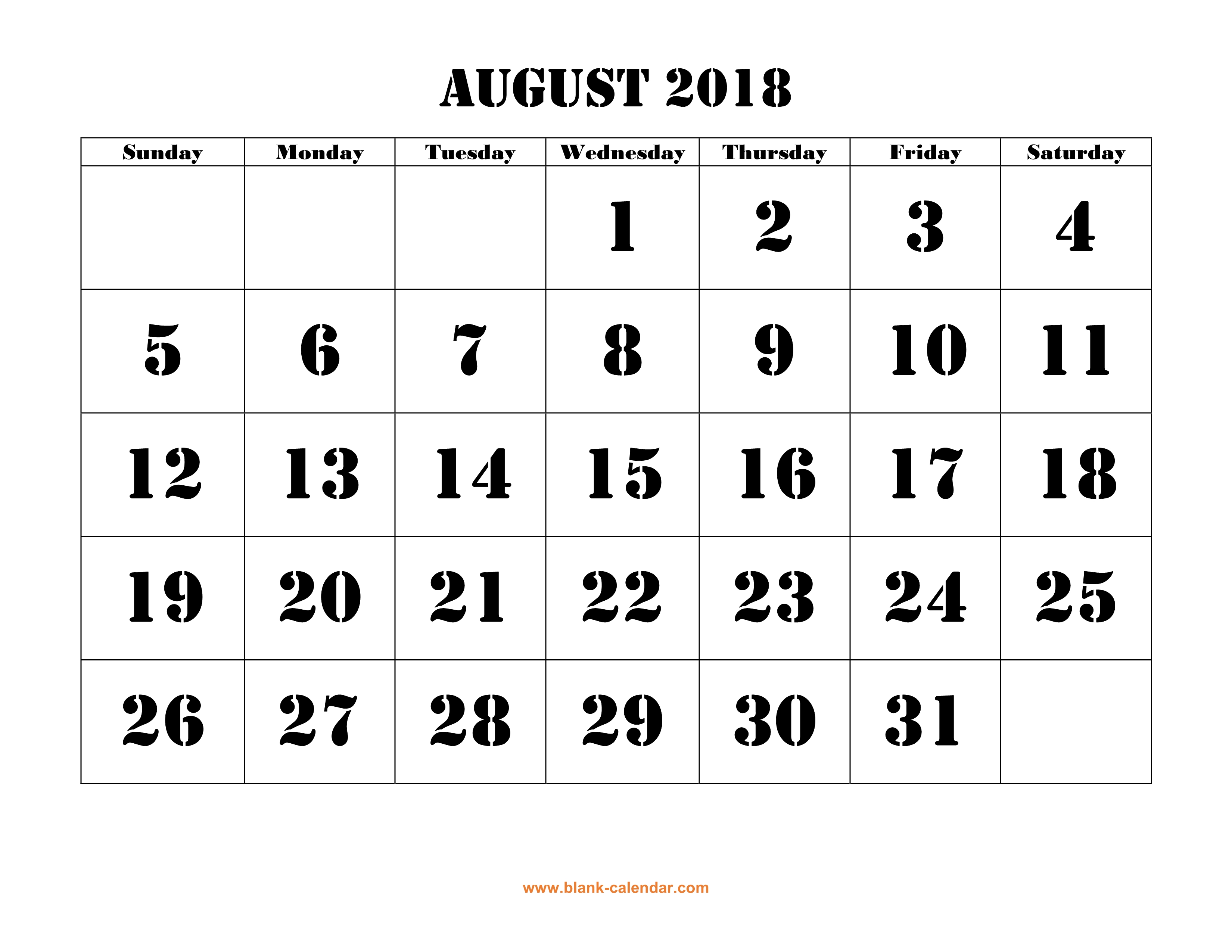 free download printable august 2018 calendar large font design holidays on red