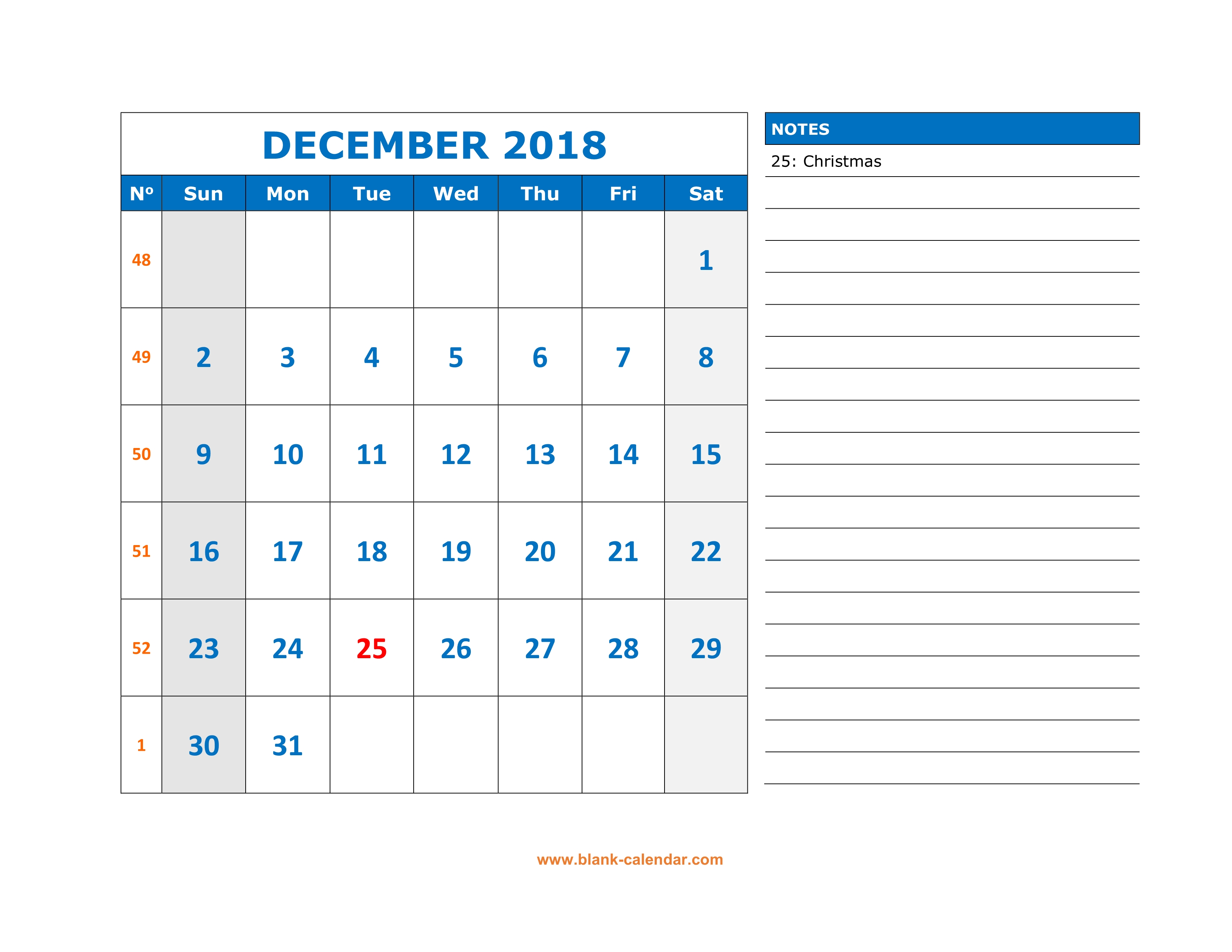 graphic relating to Free Printable Calendar December named Totally free Down load Printable December 2018 Calendar, hefty Room