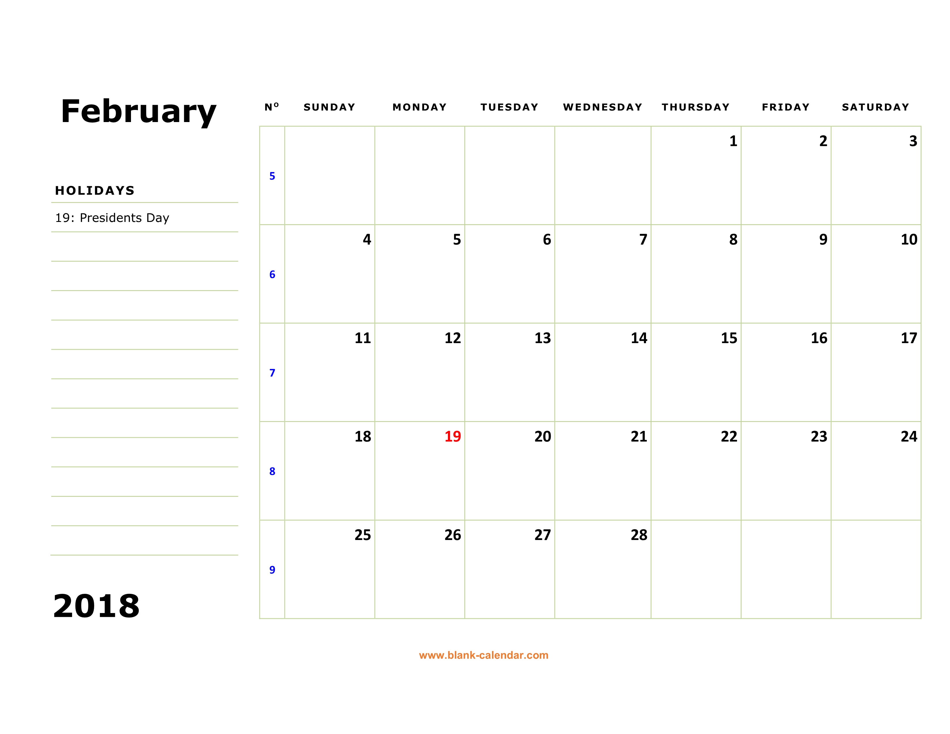 free download printable february 2018 calendar large box holidays listed space for notes