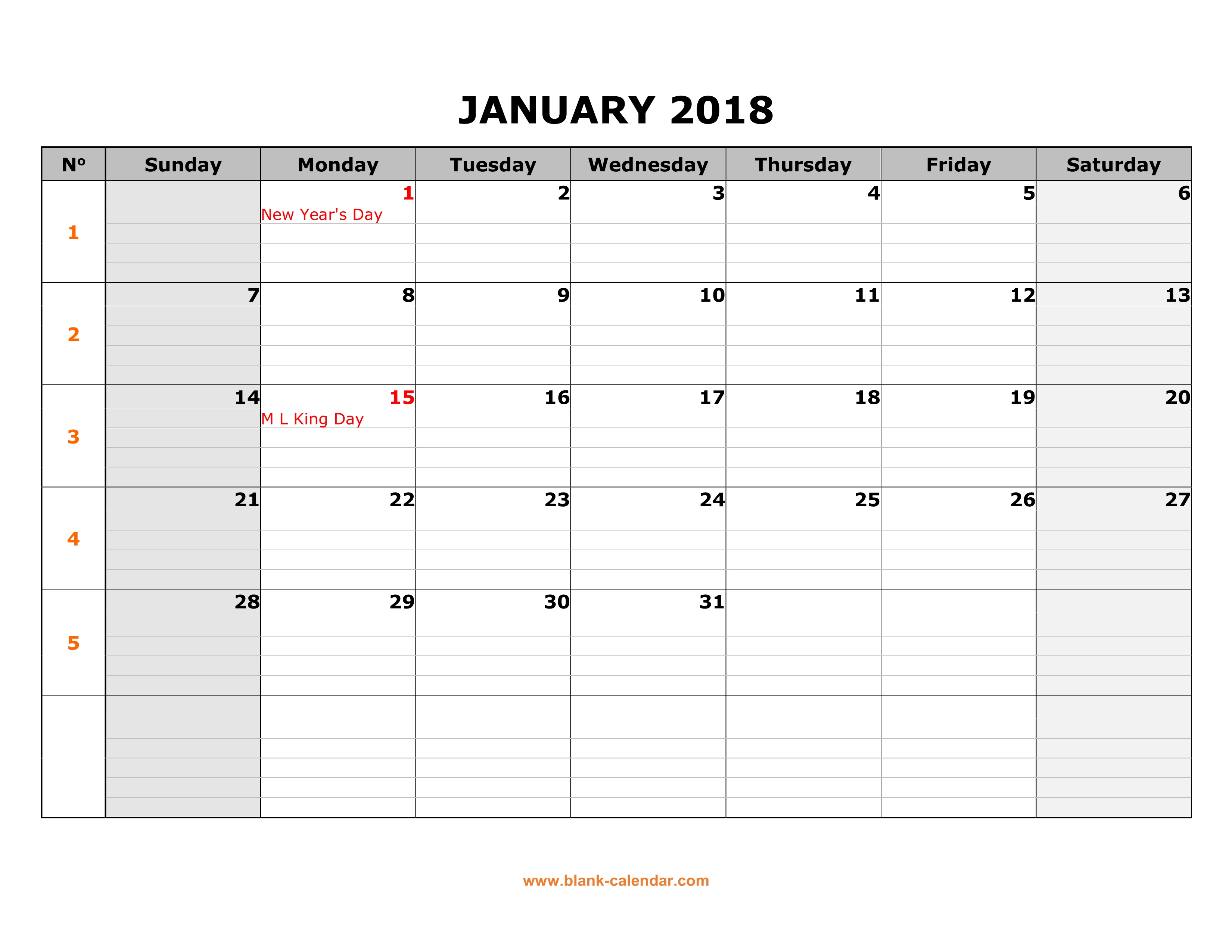 free download printable january 2018 calendar large box grid space for notes