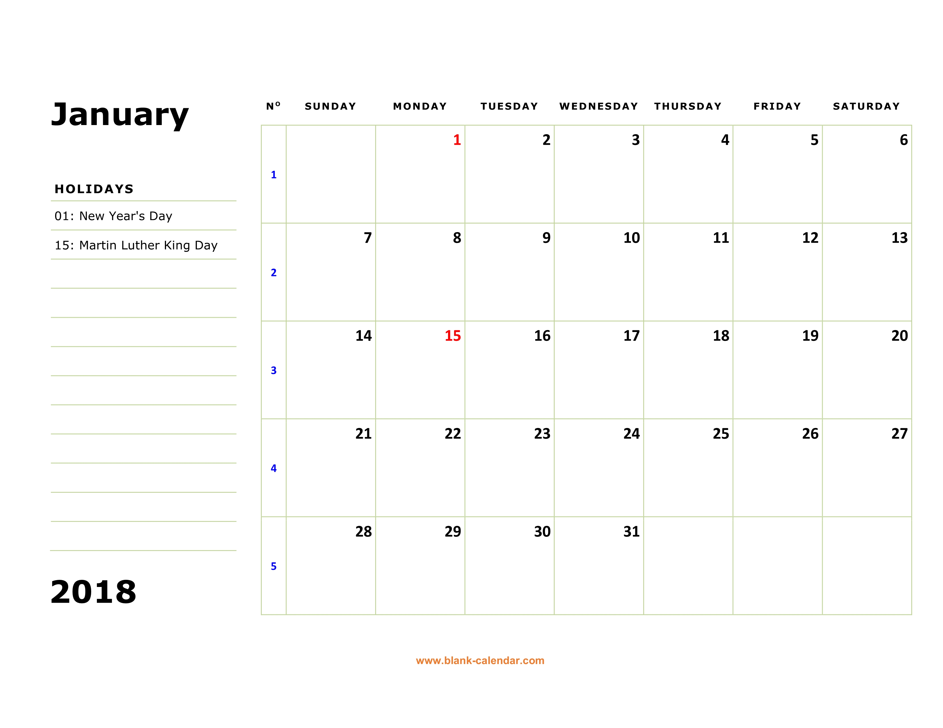 free download printable january 2018 calendar large box holidays listed space for notes