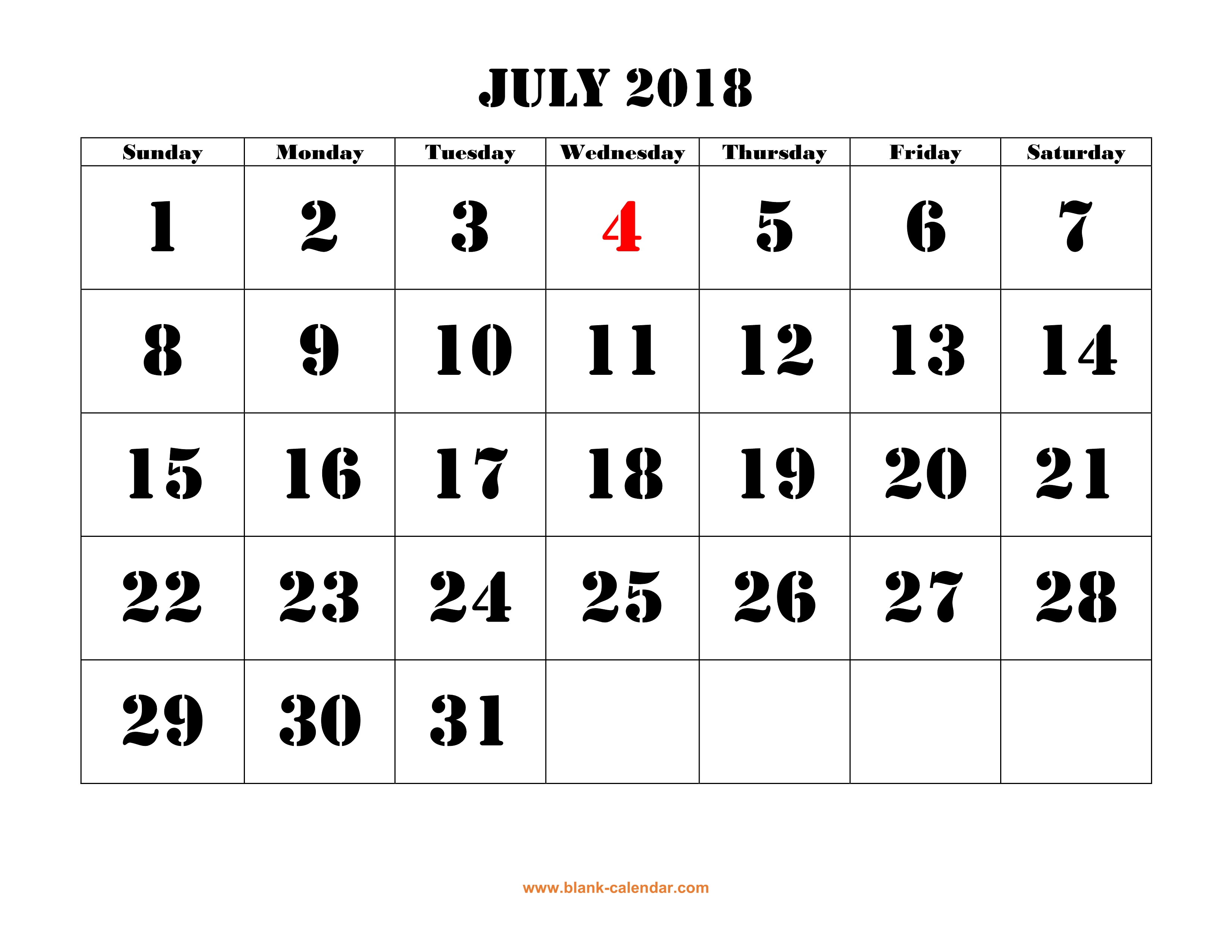 free download printable july 2018 calendar large font design holidays on red