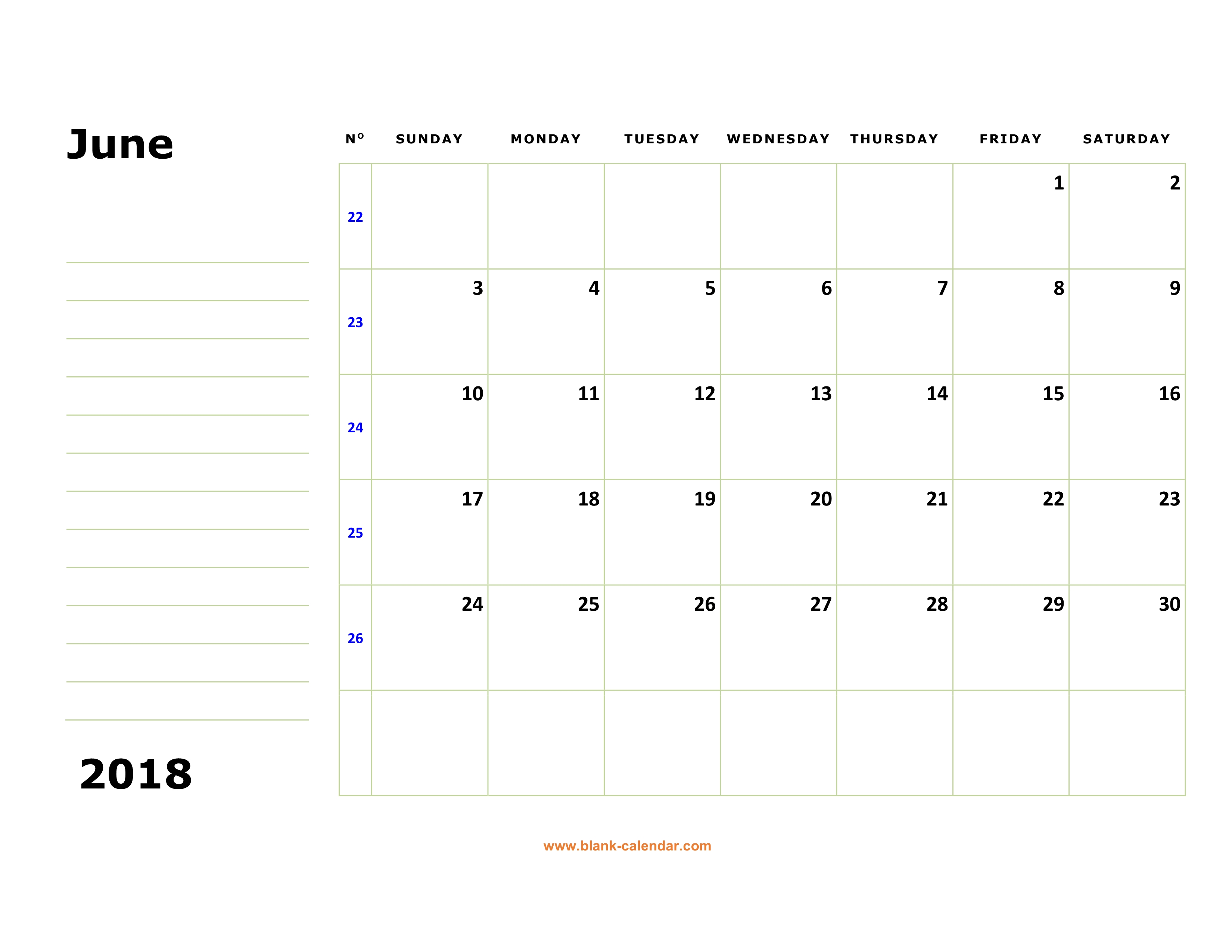 free download printable june 2018 calendar large box holidays listed space for notes