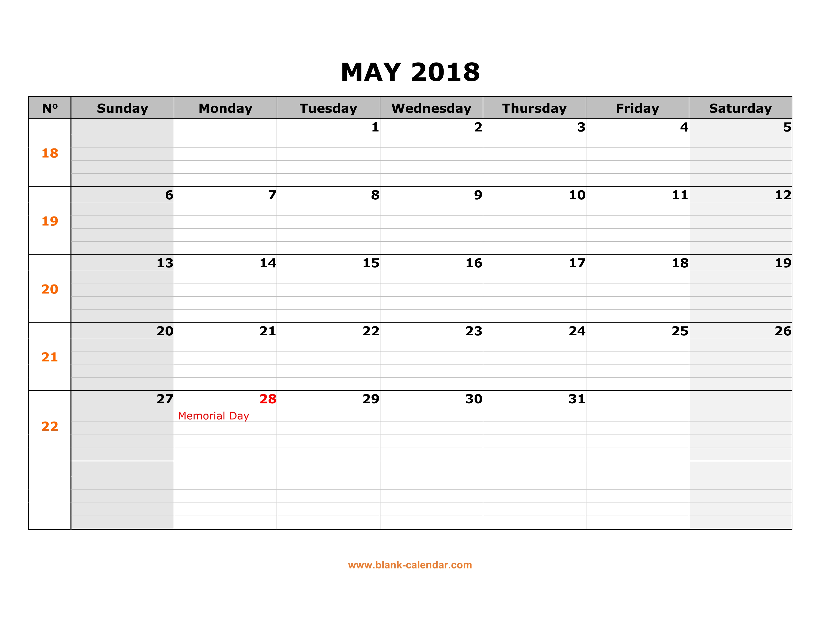 free download printable may 2018 calendar large box grid space for