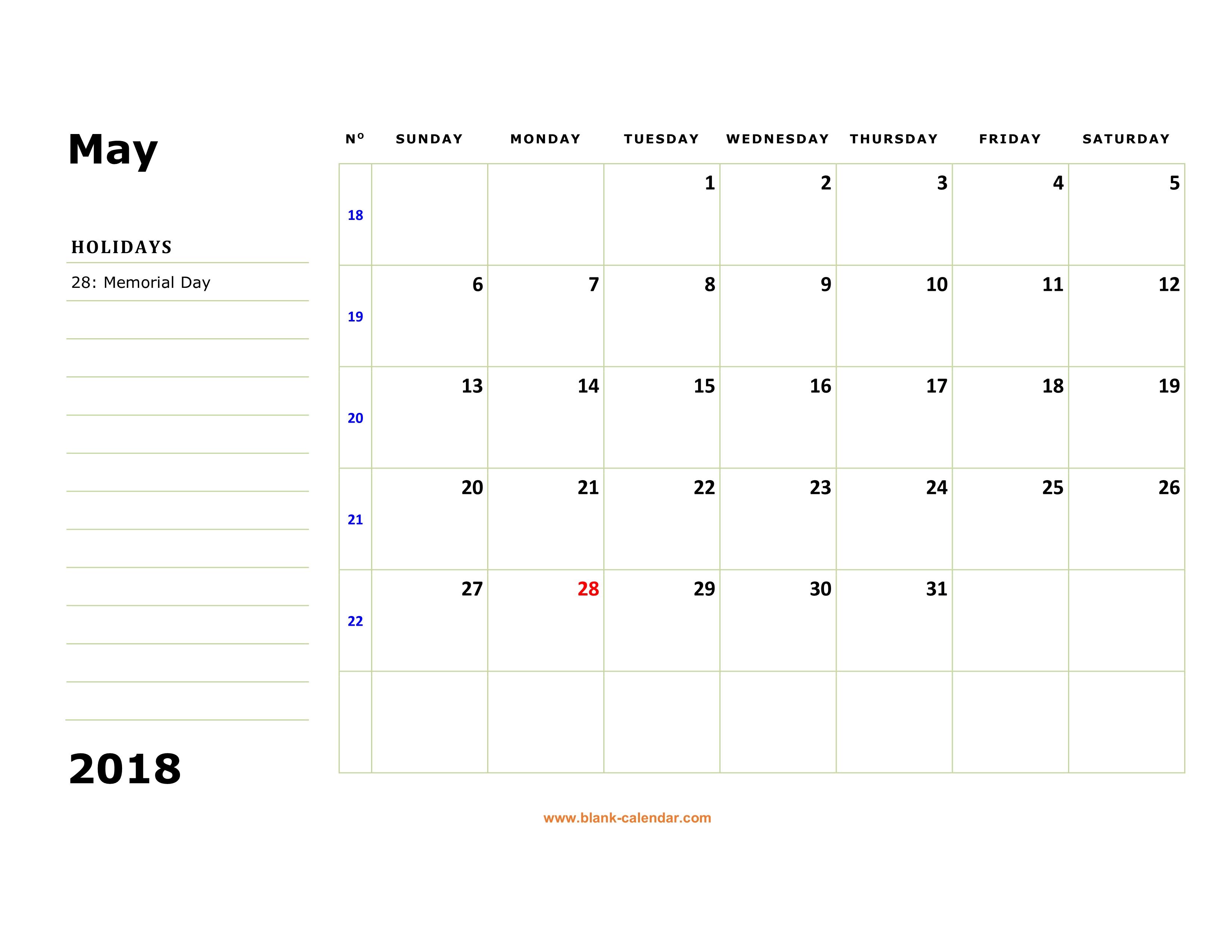 printable calendar may 2018 with holidays
