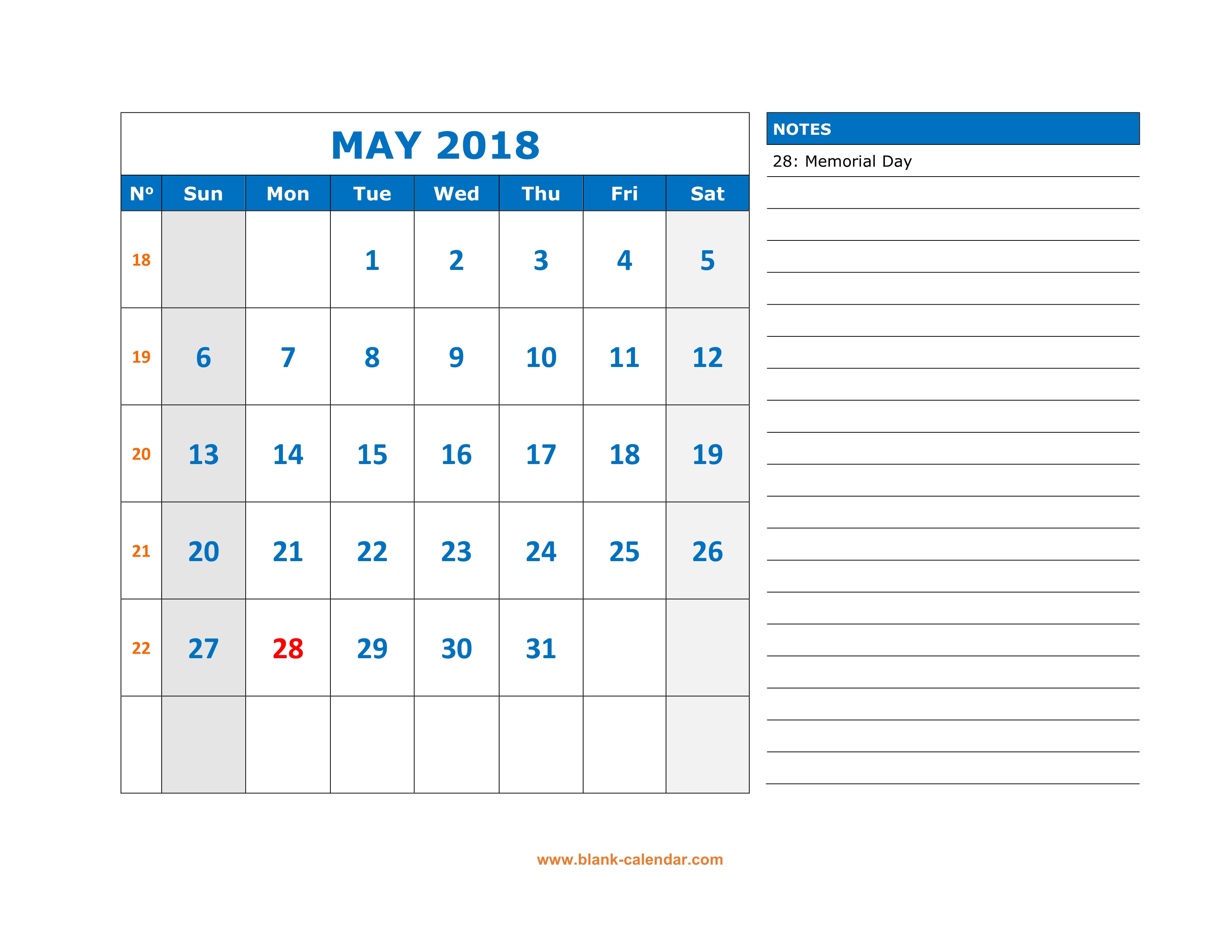 free download printable may 2018 calendar large space for appointment and notes