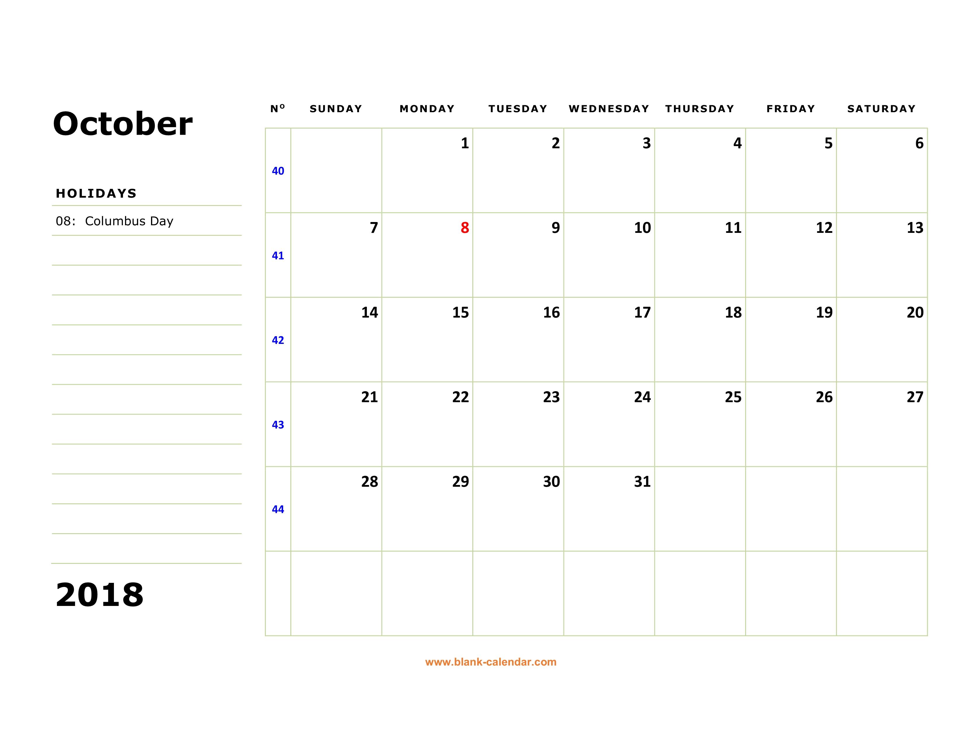 october 2018 blank calendar