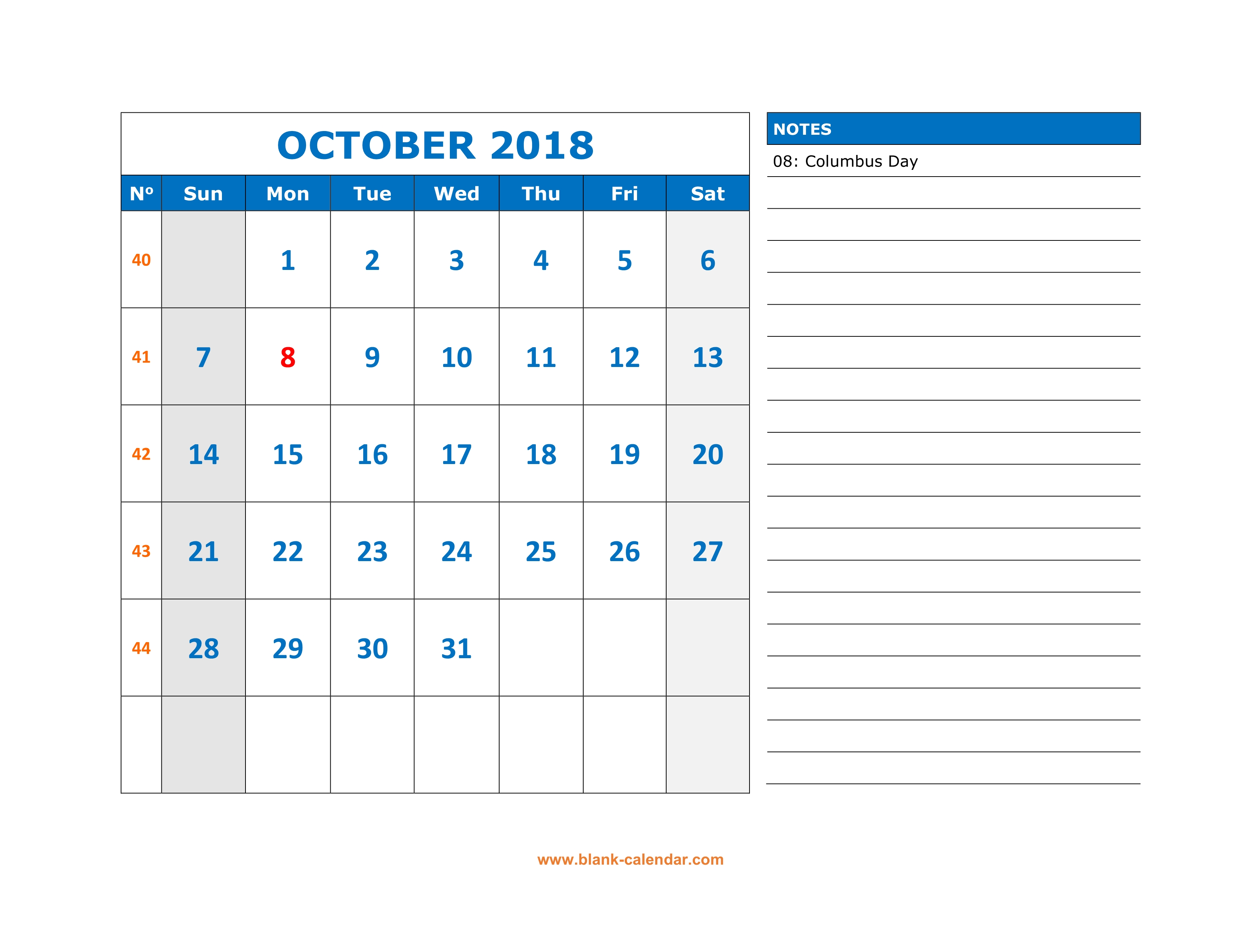 free download printable october 2018 calendar large space for appointment and notes