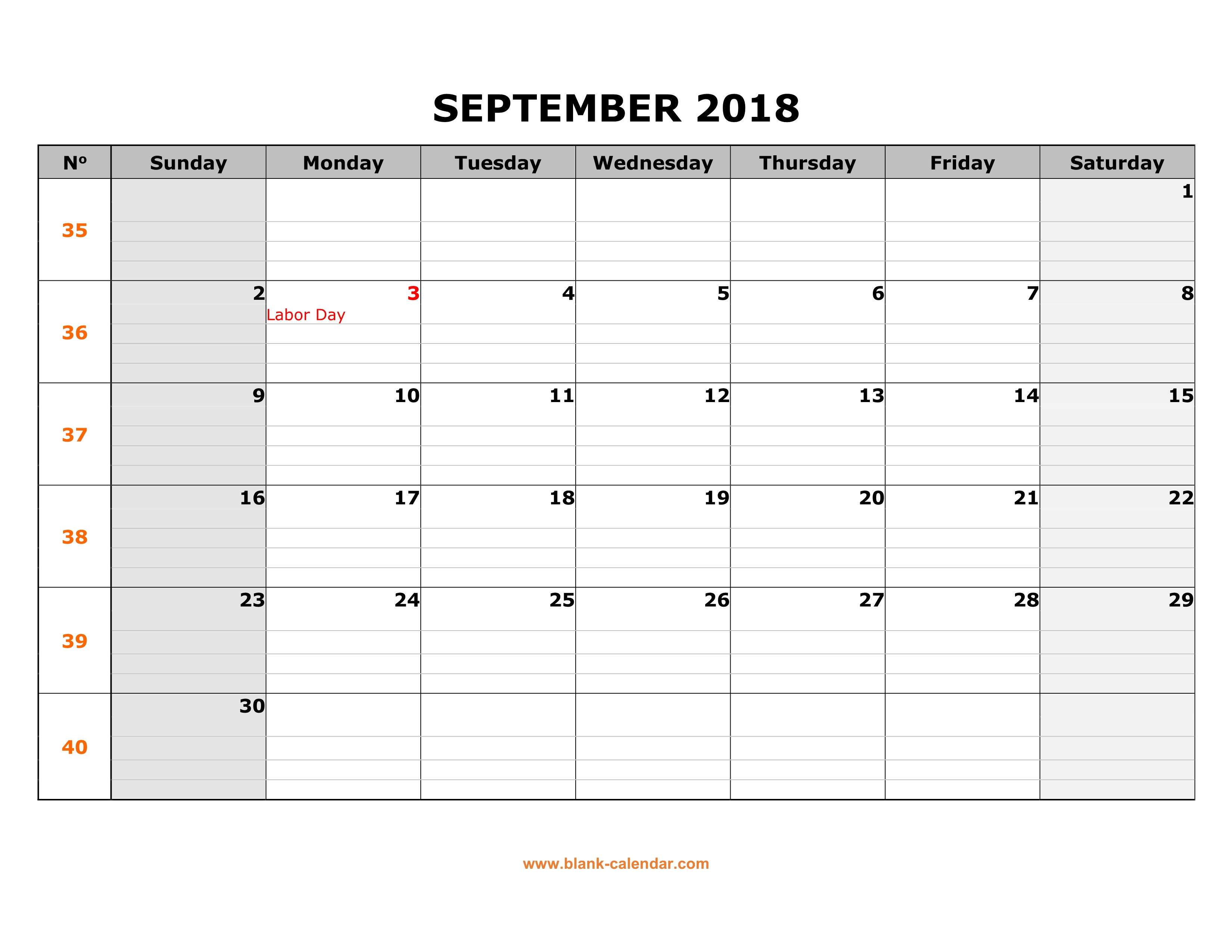 free download printable september 2018 calendar large box grid space for notes