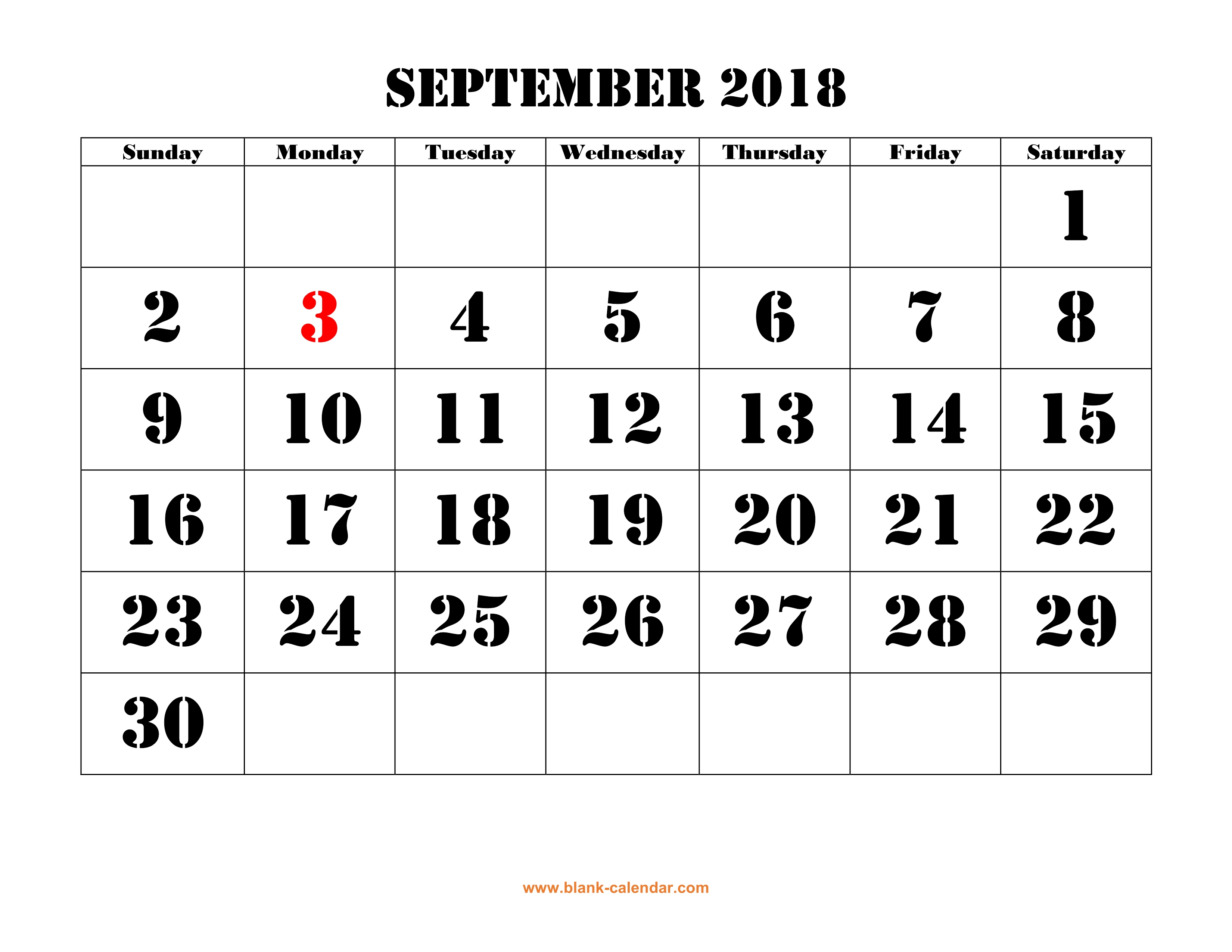 Free Download Printable September 2018 Calendar Large Font Design