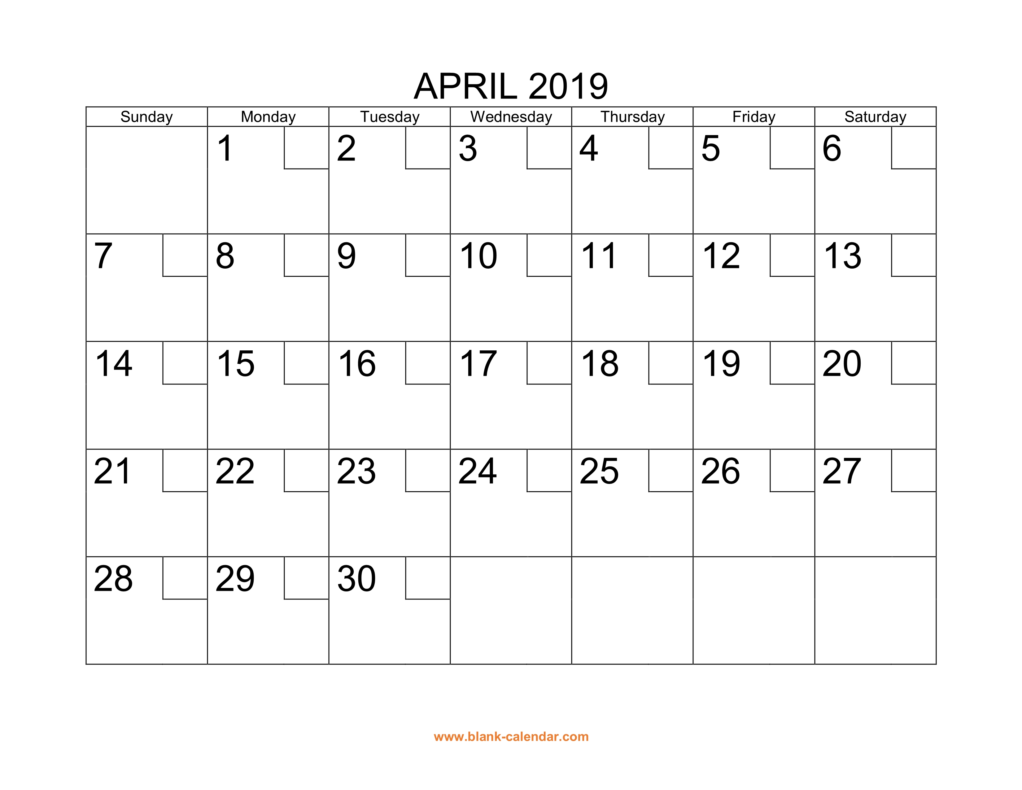 Free Download Printable April 2019 Calendar with check boxes
