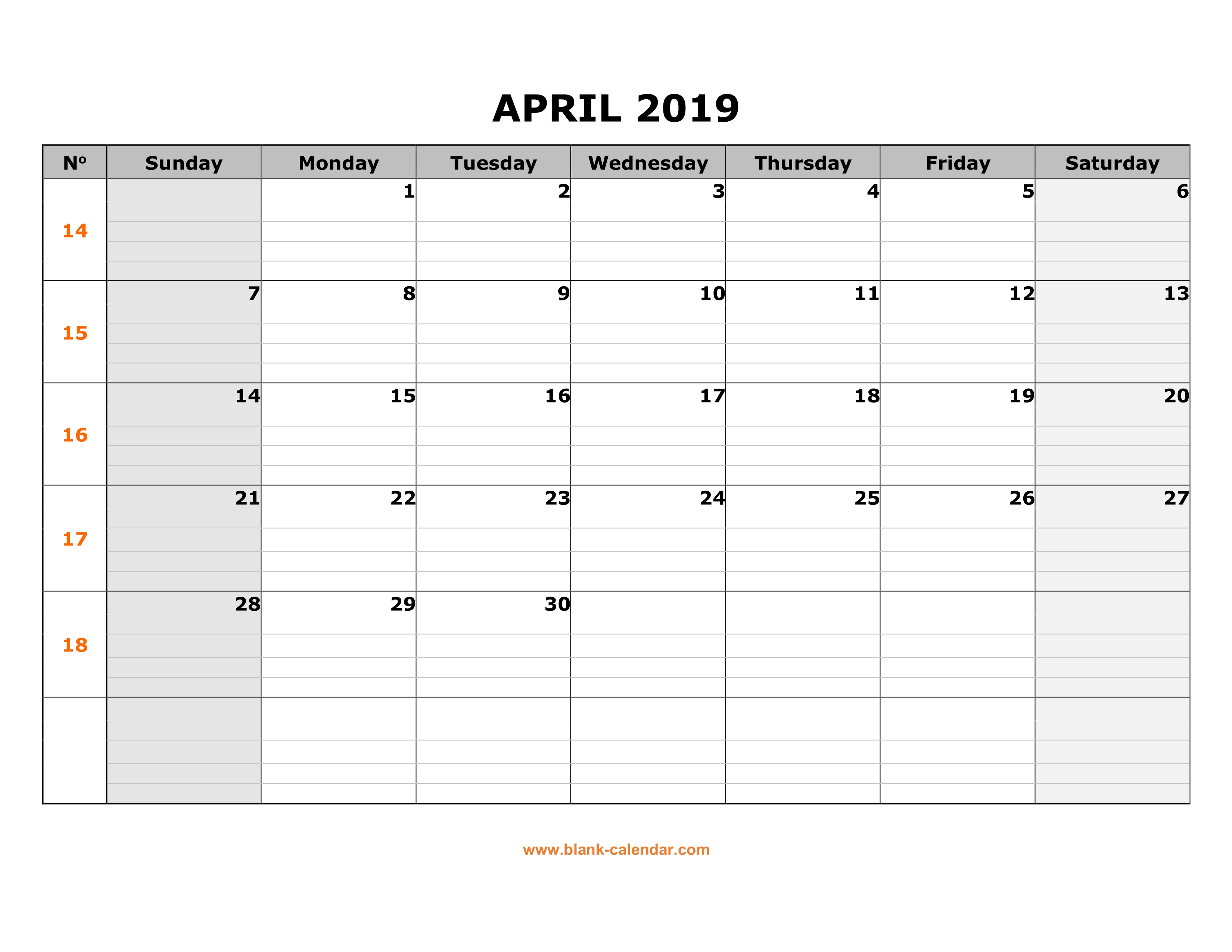 Free Download Printable April 2019 Calendar Large Box Grid Space