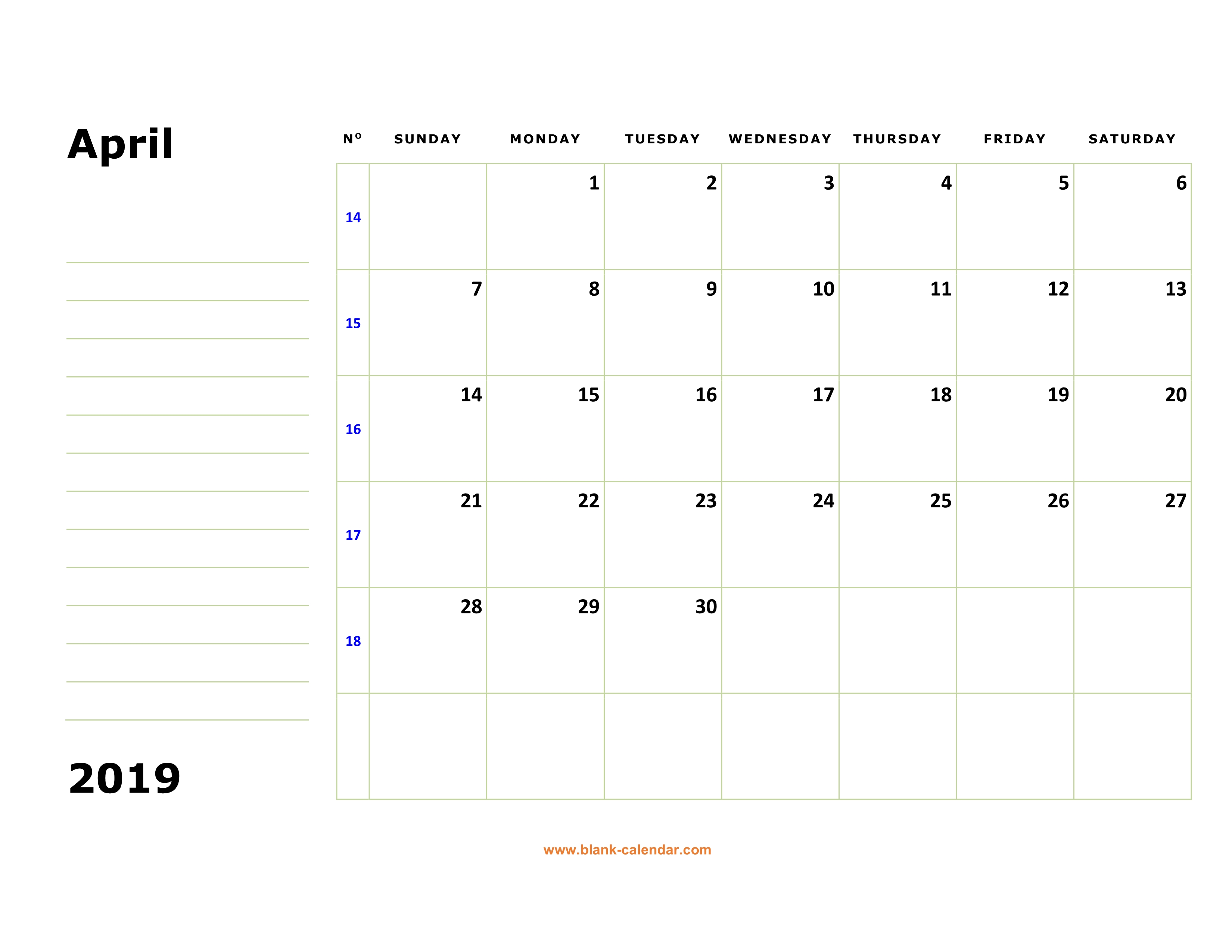 Free Download Printable April 2019 Calendar Large Box Holidays