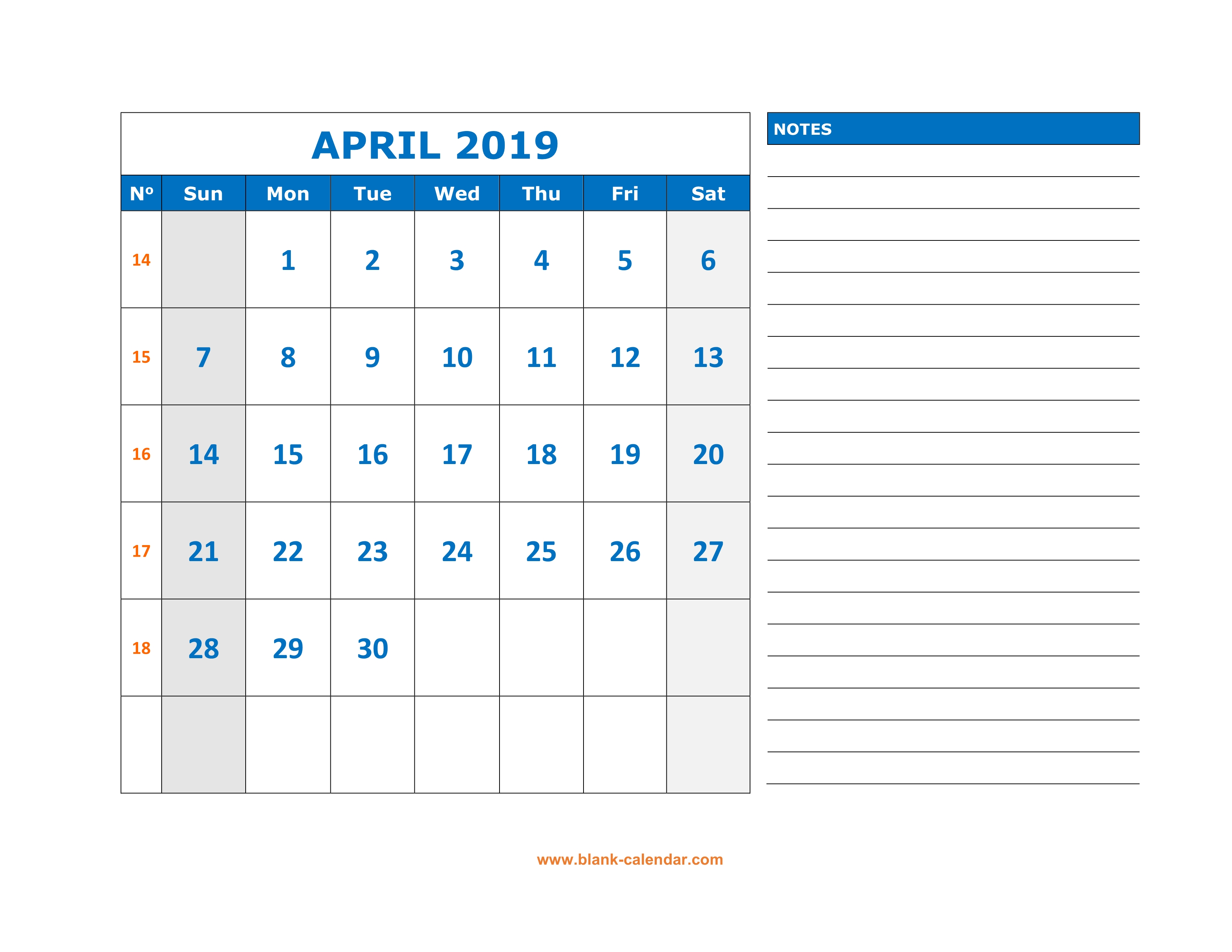 graphic relating to Calendar for April Printable named Cost-free Obtain Printable April 2019 Calendar, massive House for
