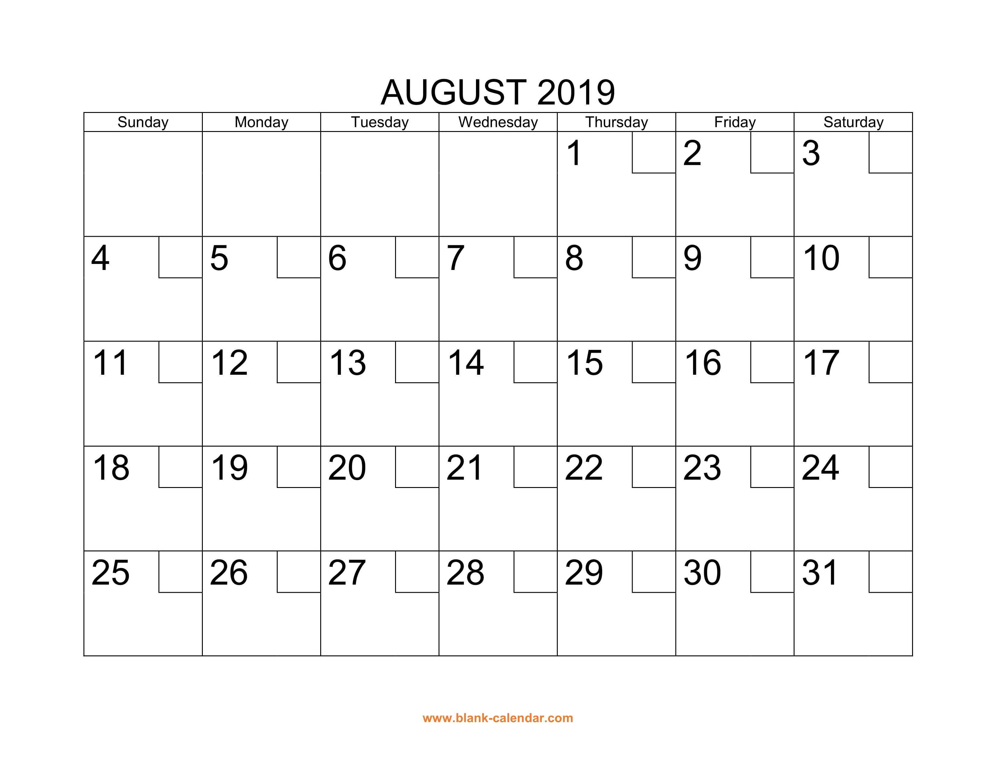Free Download Printable August 2019 Calendar With Check Boxes