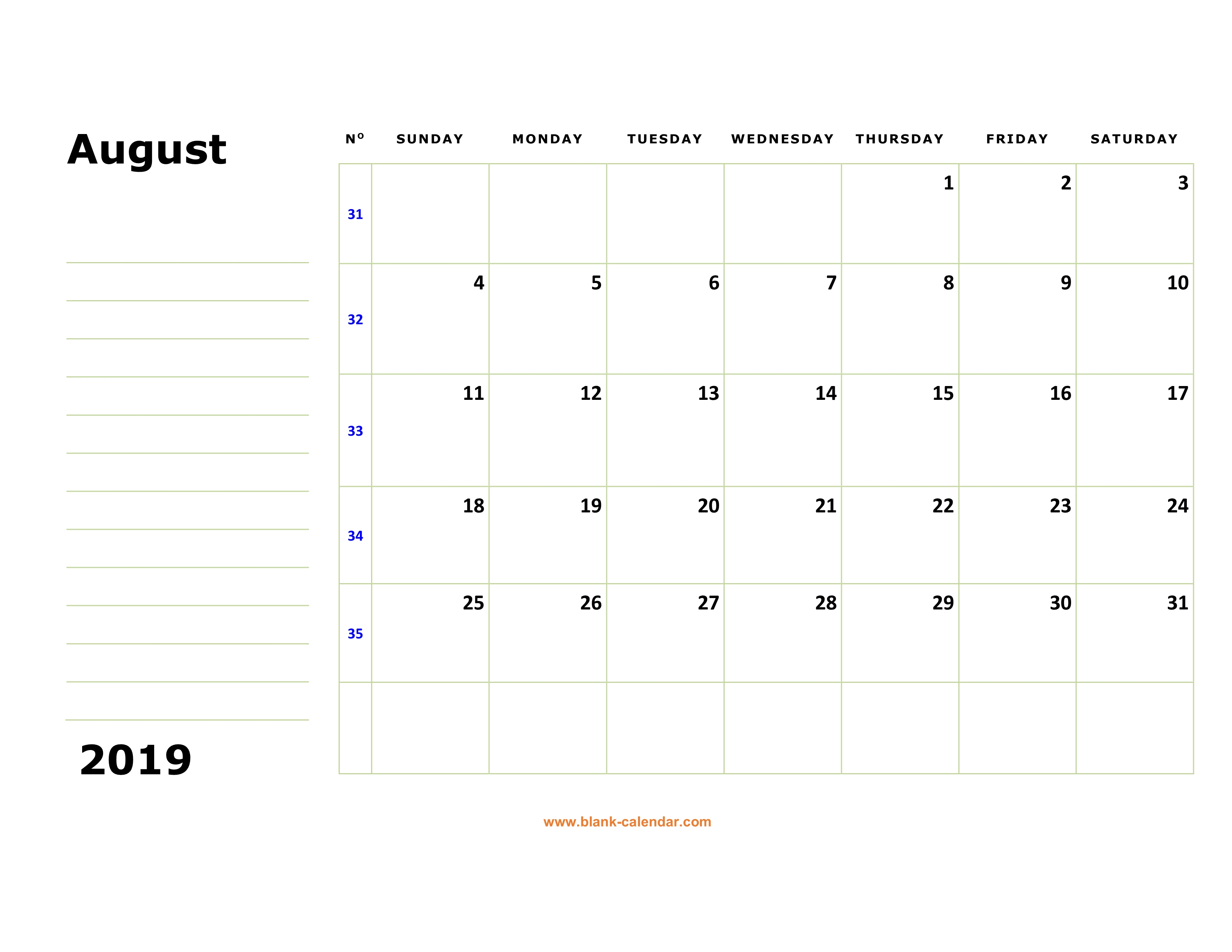 Free Download Printable August 2019 Calendar Large Box Holidays