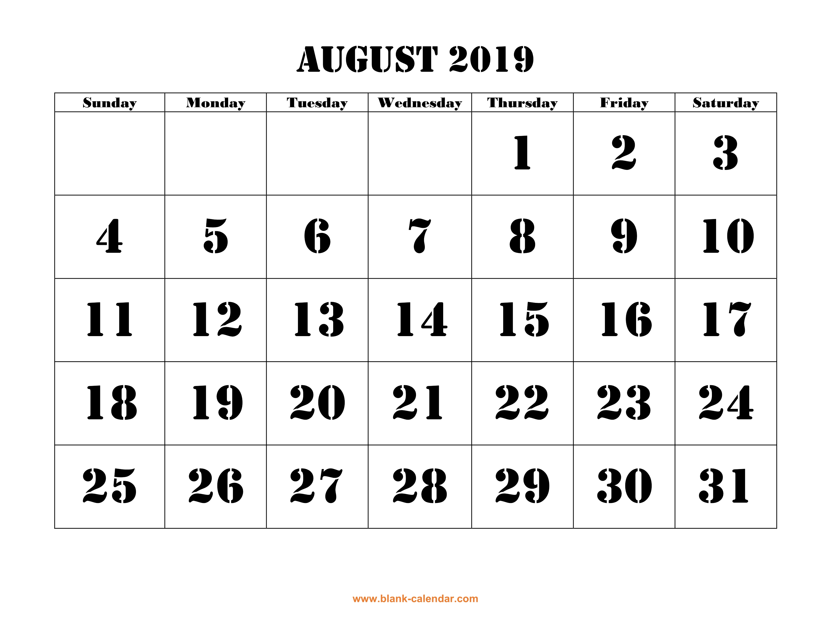 photograph regarding Printable Aug Calendar identify Free of charge Obtain Printable August 2019 Calendar, huge font