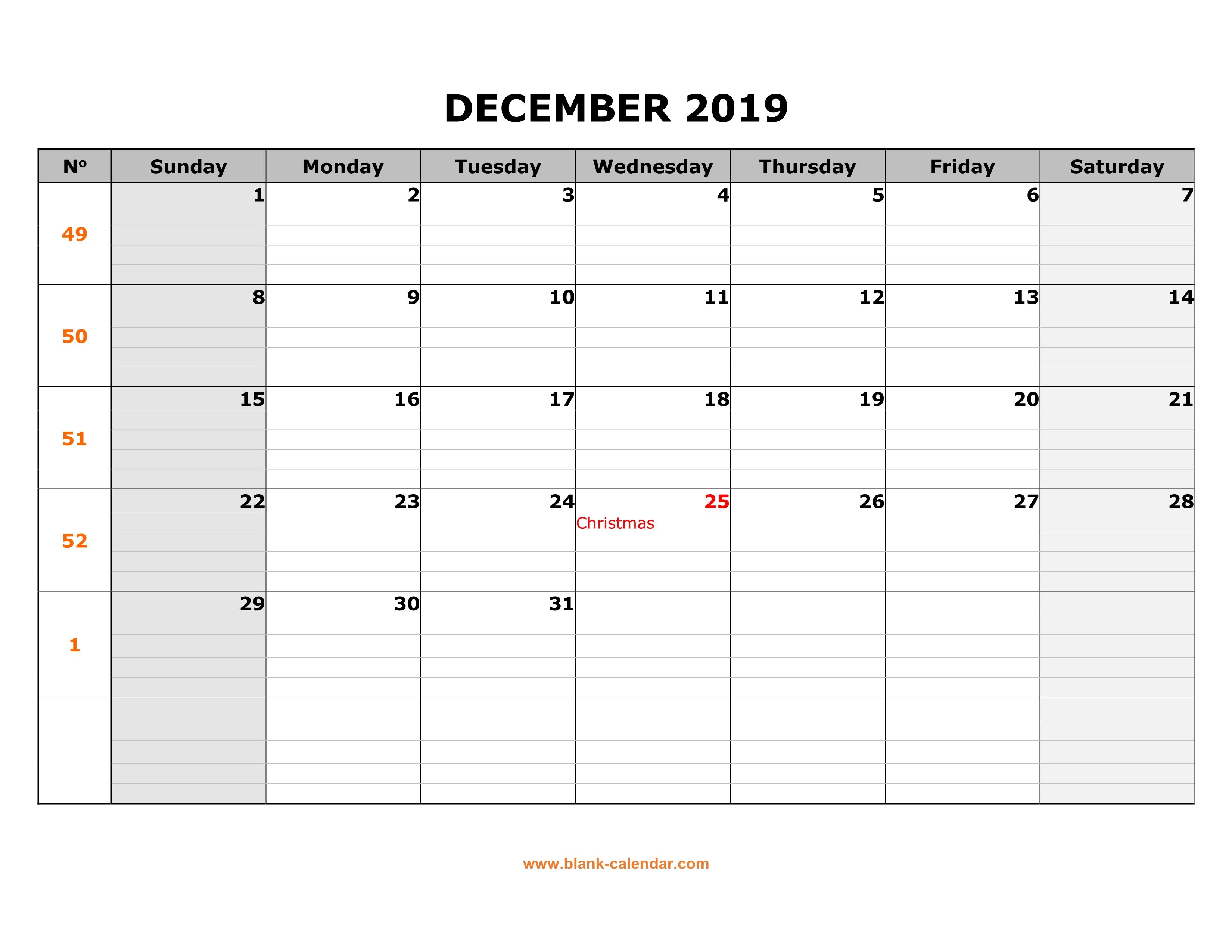December 2019 Large Printable Calendar Free Download Printable December 2019 Calendar, large box grid