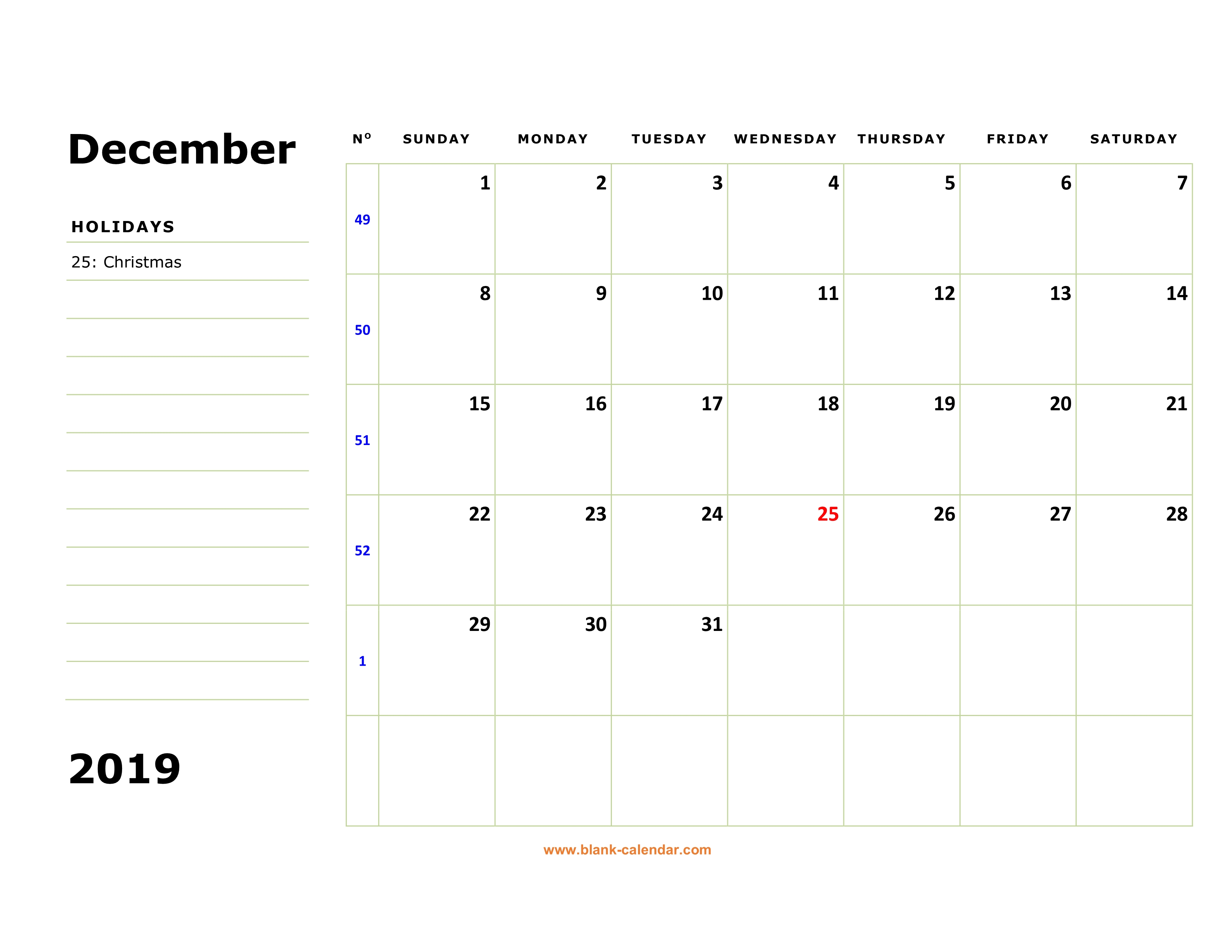 December 2019 Printable Calendar Space For Notes Included Free Download Printable December 2019 Calendar, large box