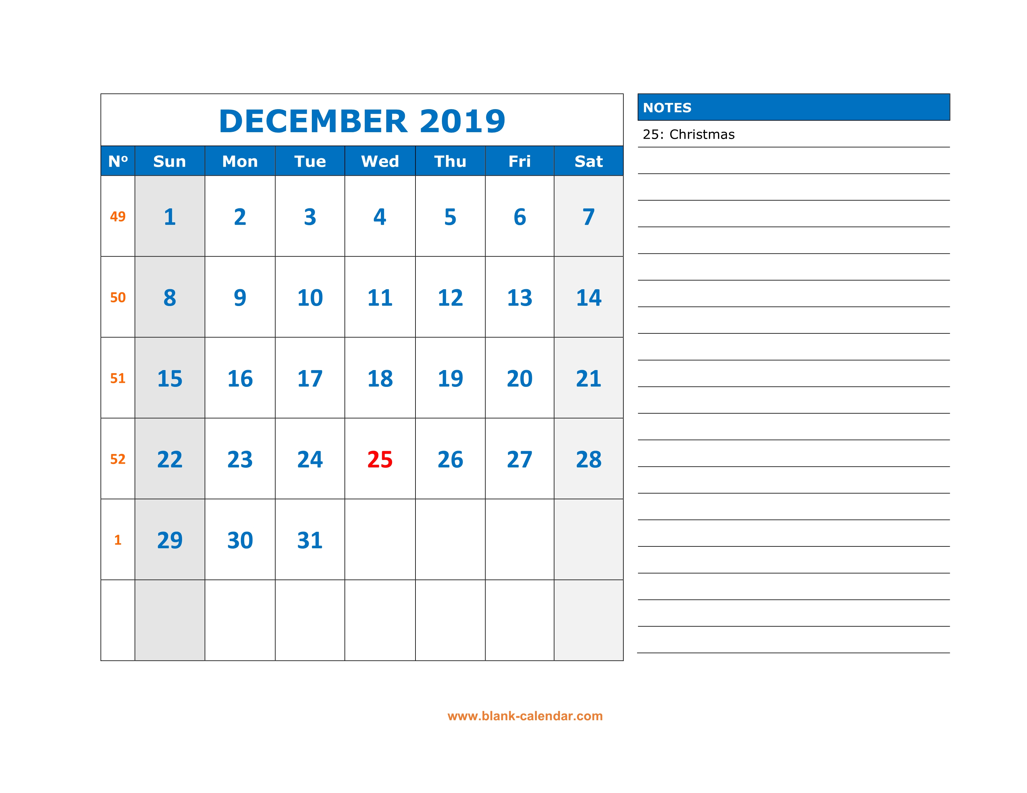 December 2019 Printable Calendar Space For Notes Included Free Download Printable December 2019 Calendar, large space for