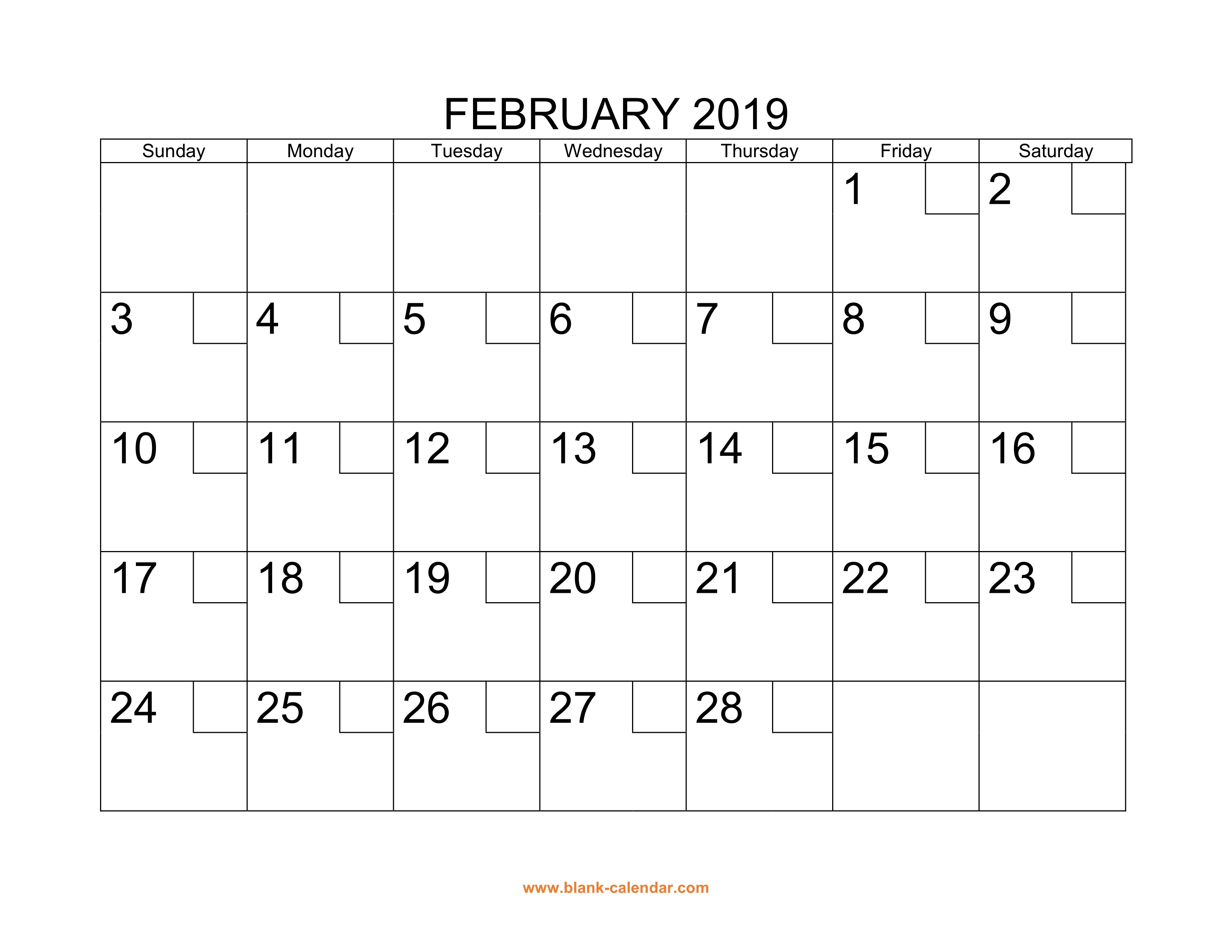 graphic regarding Printable February Calendar known as No cost Down load Printable February 2019 Calendar with examine packing containers