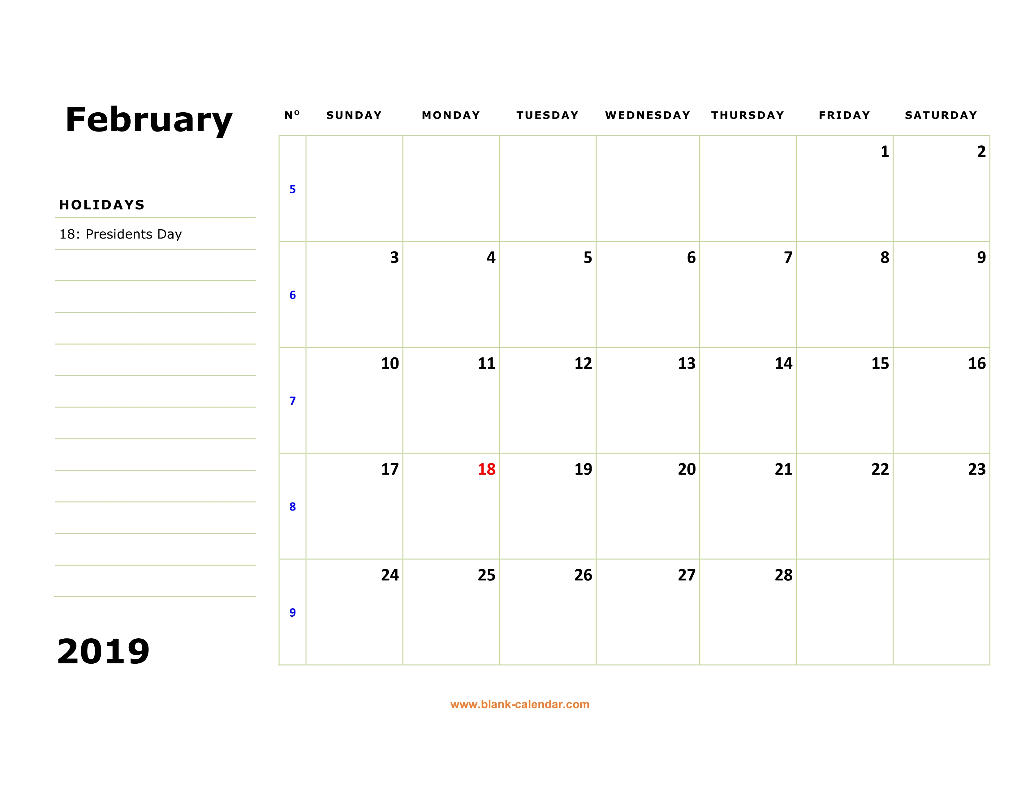 Free Download Printable February 2019 Calendar Large Box Holidays