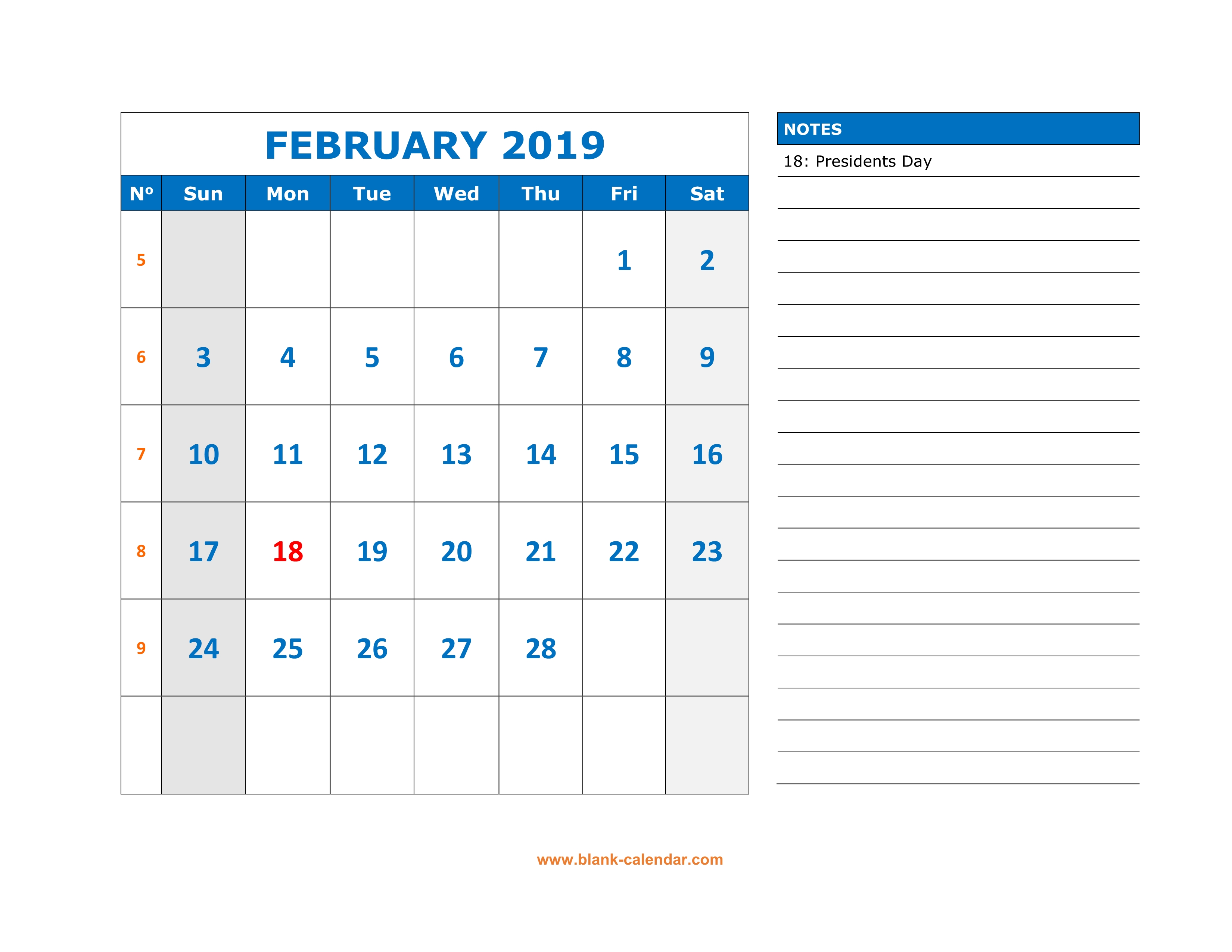 February Calendar 2019 With Notes Free Download Printable February 2019 Calendar, large space for