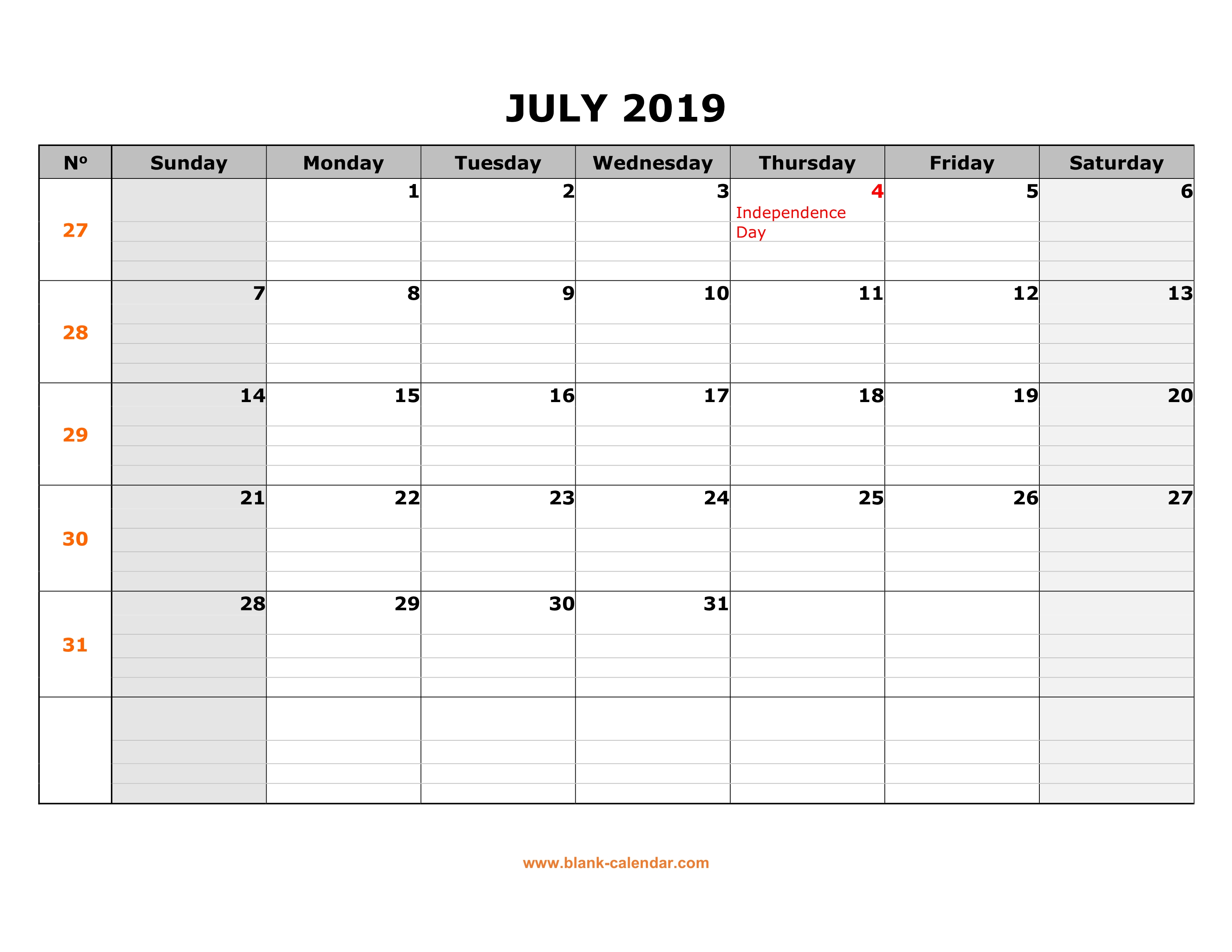 Calendar To Print July 2019.Free Download Printable July 2019 Calendar Large Box Grid Space