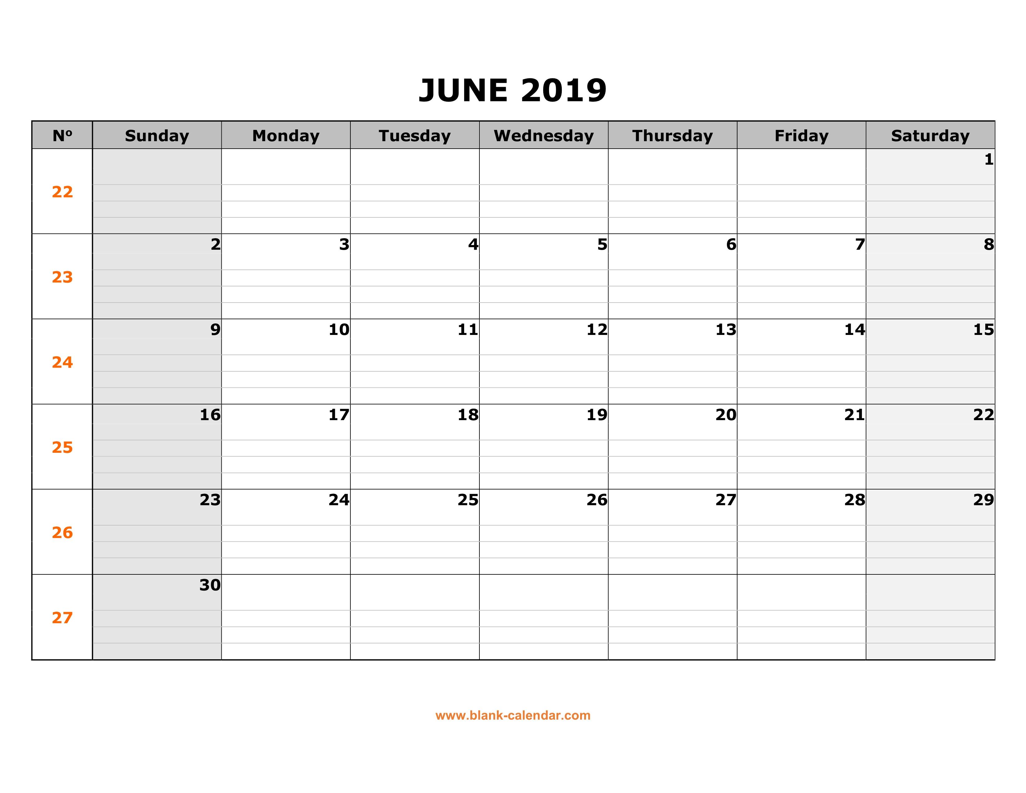 picture regarding Printable June Calendar titled Absolutely free Obtain Printable June 2019 Calendar, enormous box grid