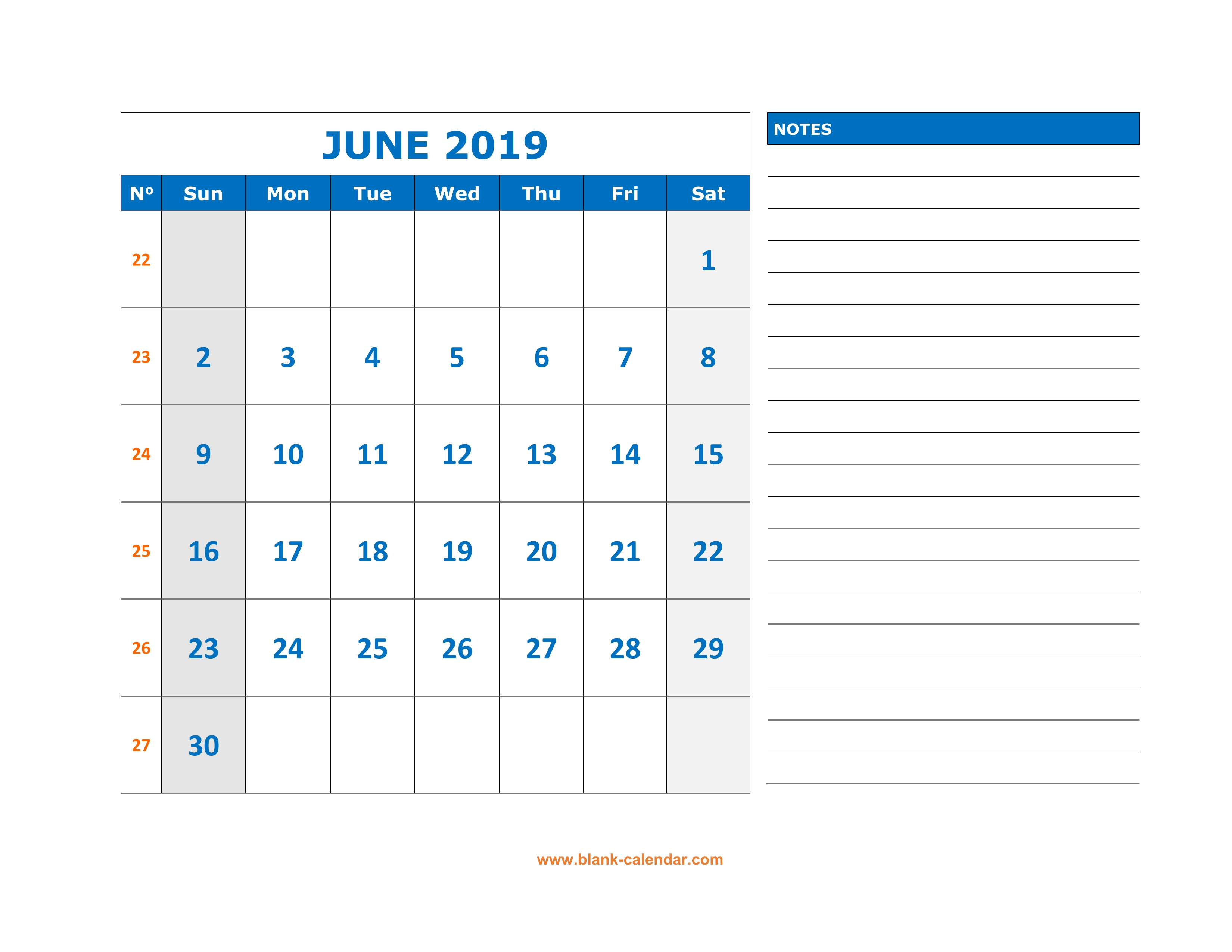Free Download Printable June 2019 Calendar Large Space For