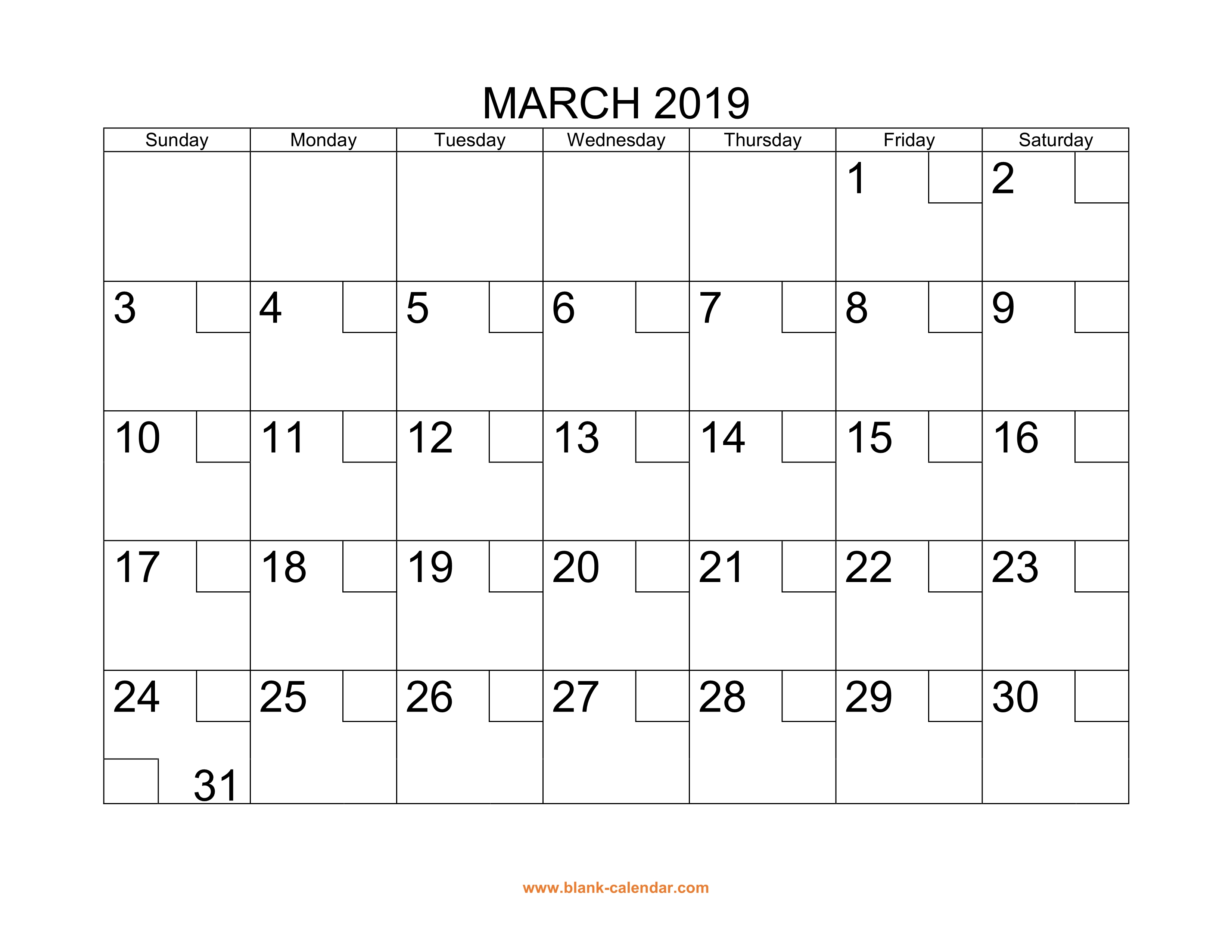 Free Download Printable March 2019 Calendar With Check Boxes