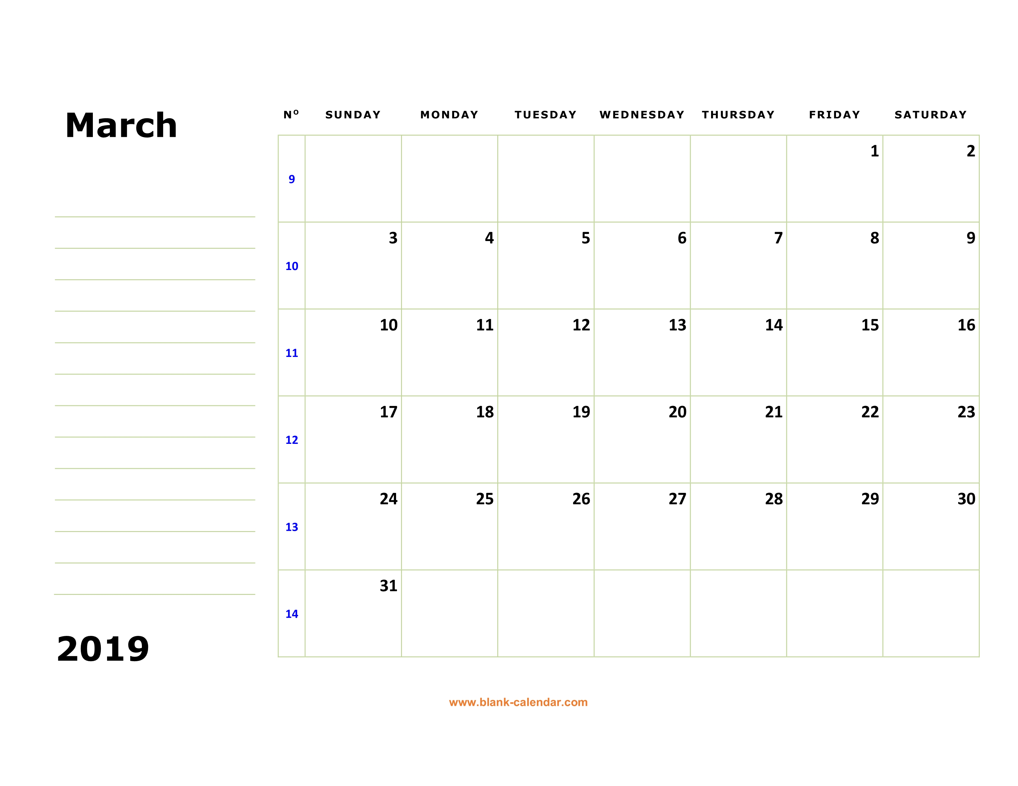 image regarding Free Printable March Calendar known as Cost-free Obtain Printable March 2019 Calendar, significant box
